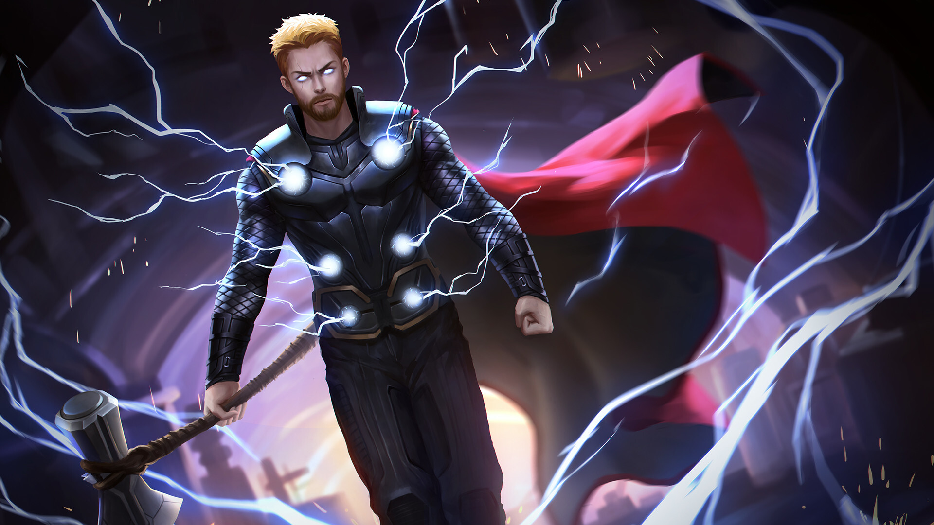 1920x1080 Thor With His New Hammer In Avengers Infinity War Laptop
