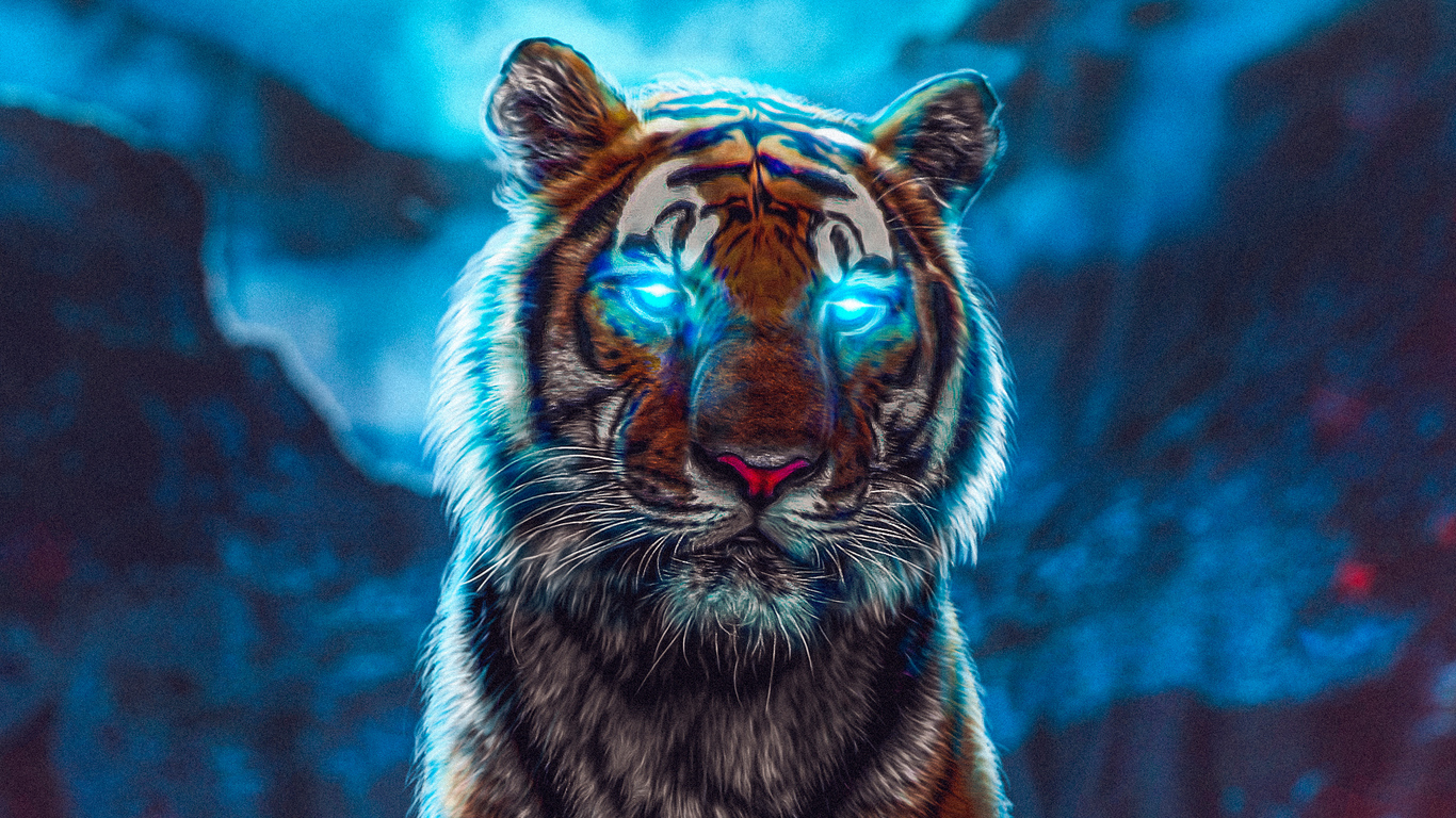 1366x768 Tiger Glowing Eyes 1366x768 Resolution Hd 4k Wallpapers