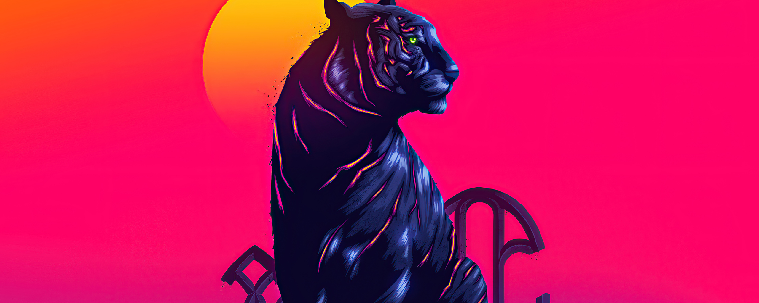 2560x1024 Tiger Neon 4k 2560x1024 Resolution Hd 4k Wallpapers Images Backgrounds Photos And Pictures