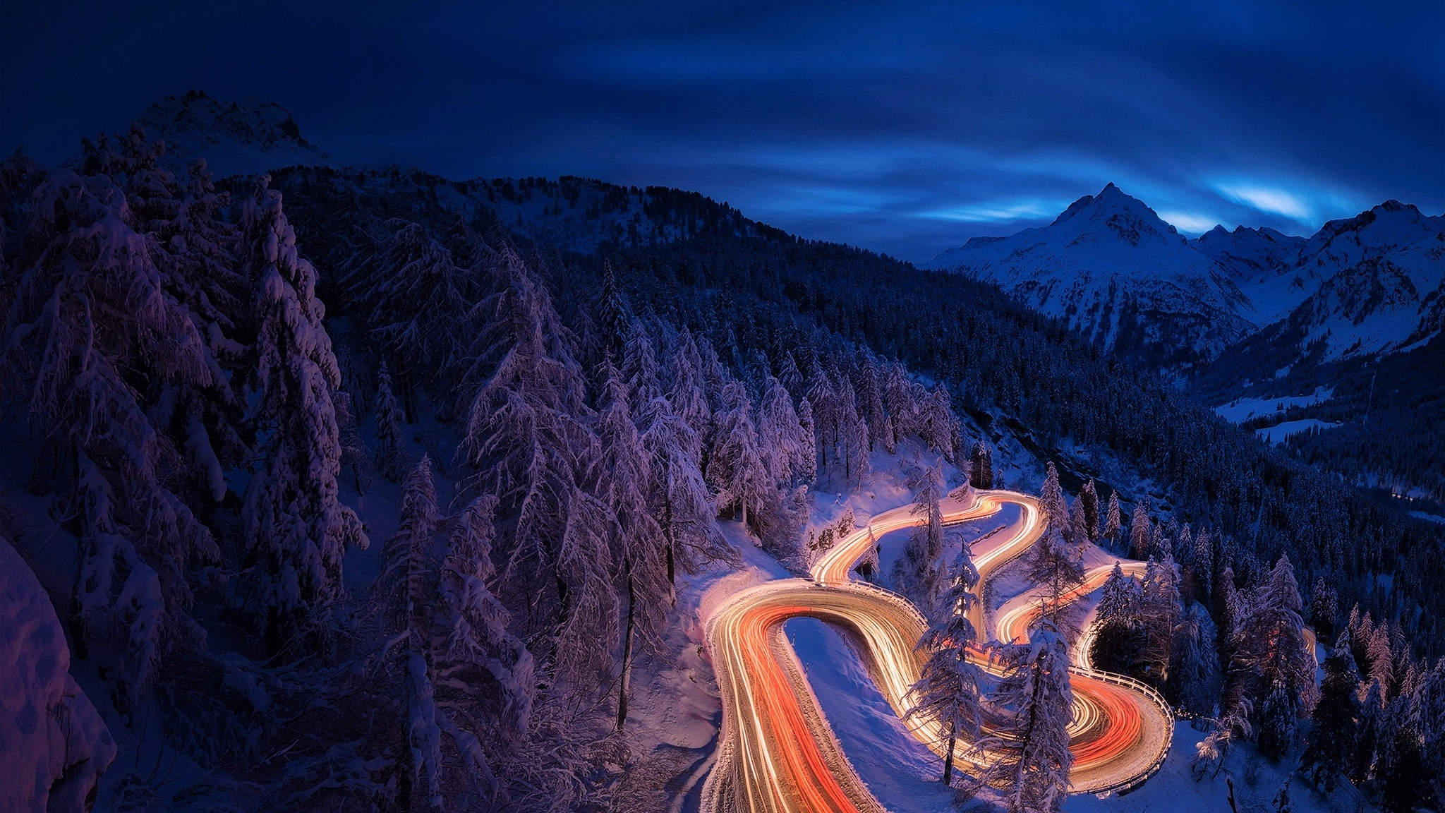 2048x1152 time lapse photography forest landscape mountain night
