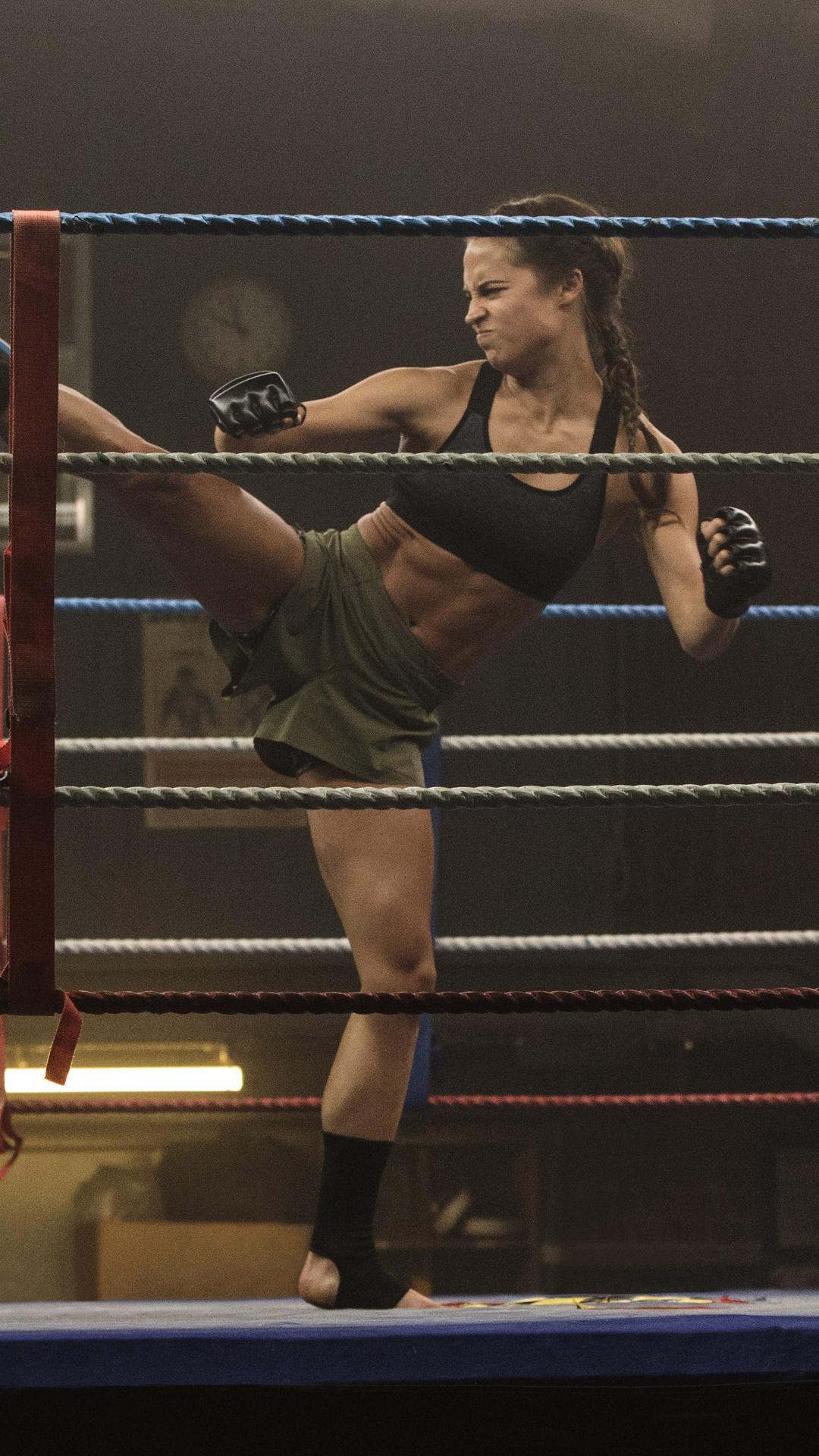 1080x1920 Tomb Raider 2018 Movie Alicia Vikander Doing Kick Boxing