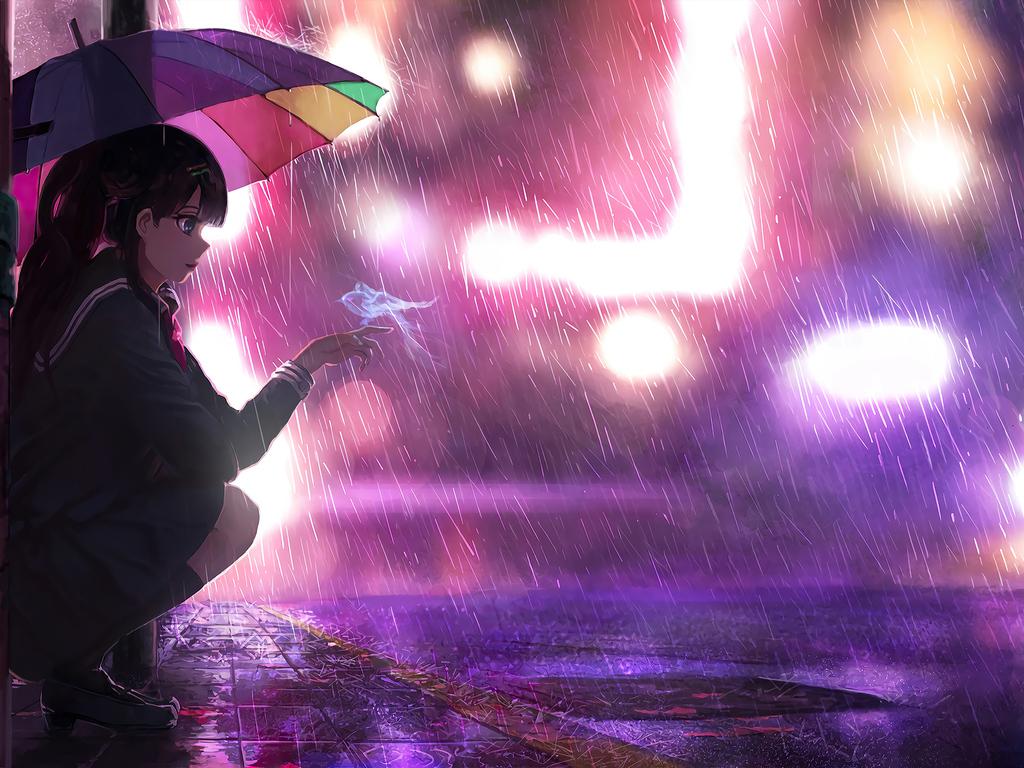 1024x768 Umbrella Rain Anime Girl 4k 1024x768 Resolution ...