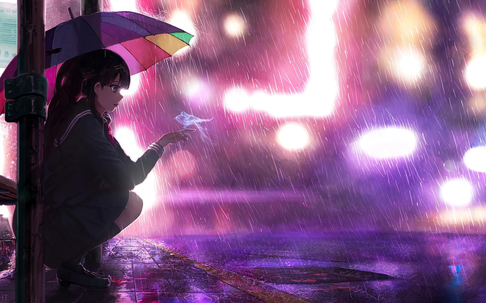 1680x1050 Umbrella Rain Anime Girl 4k ...