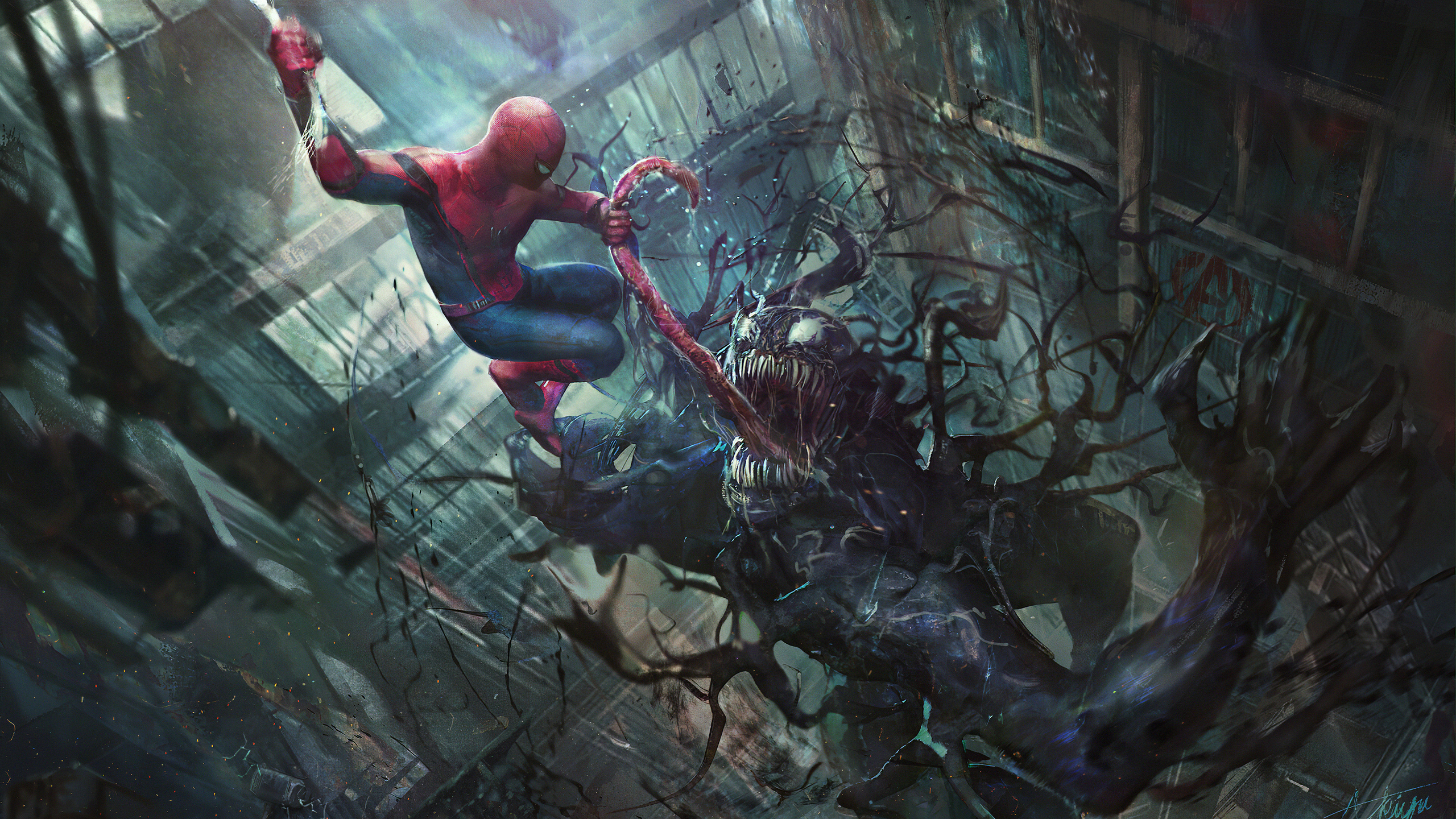 2560x1440 Venom And Spider Man 1440P Resolution HD 4k ...