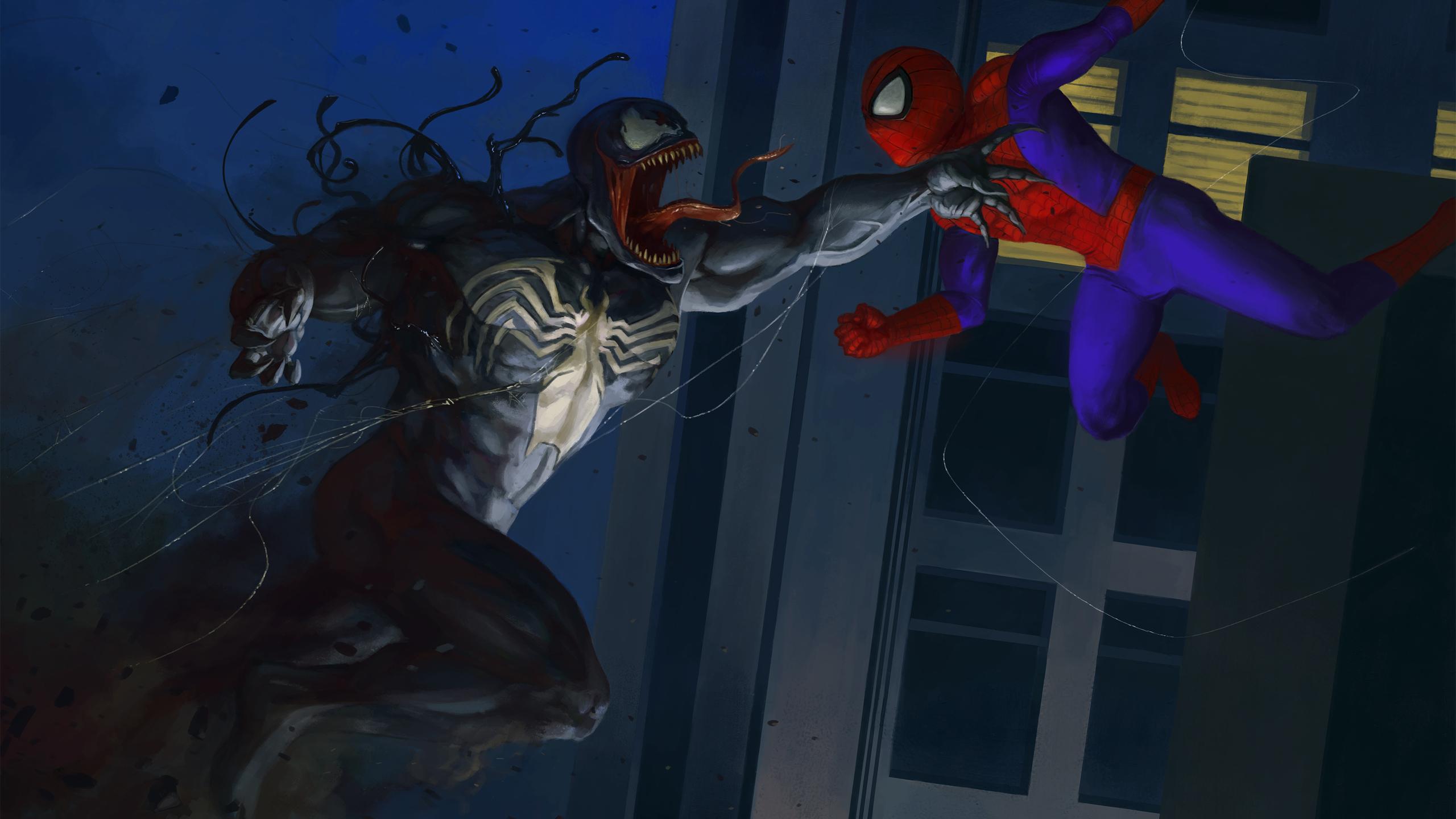 2560x1440 Venom And Spiderman Artwork 1440P Resolution HD ...