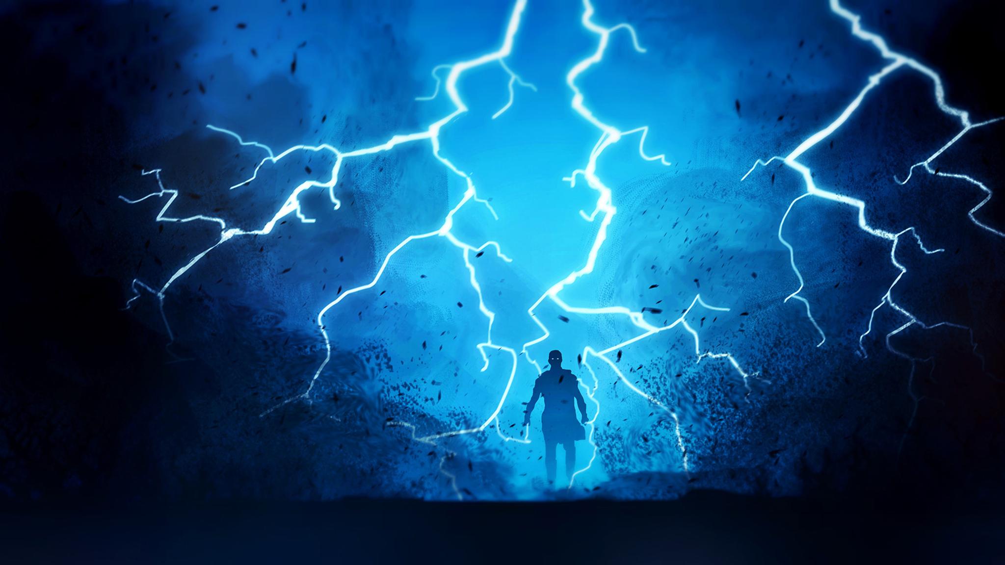 2048x1152 warrior fantasy lightning 2048x1152 resolution hd 4k wallpapers images backgrounds - Lightning wallpaper 4k ...