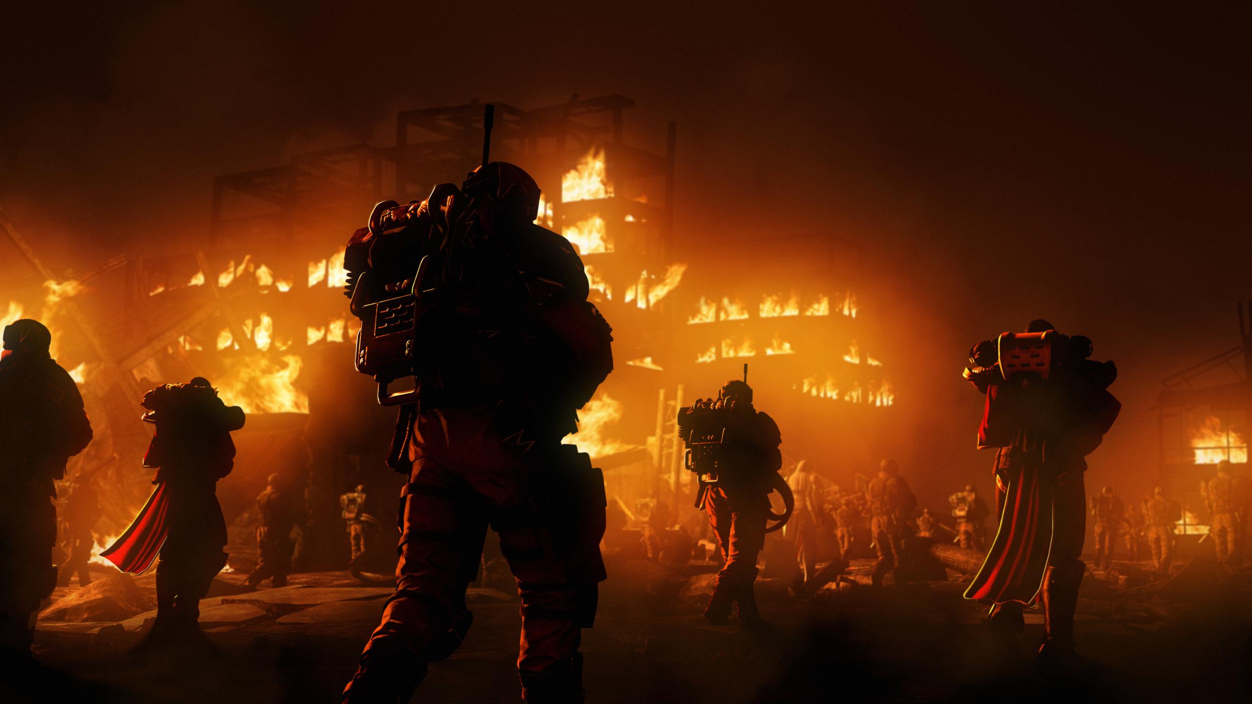 2560x1440 warriros in metal jackets war night fire 1440p resolution