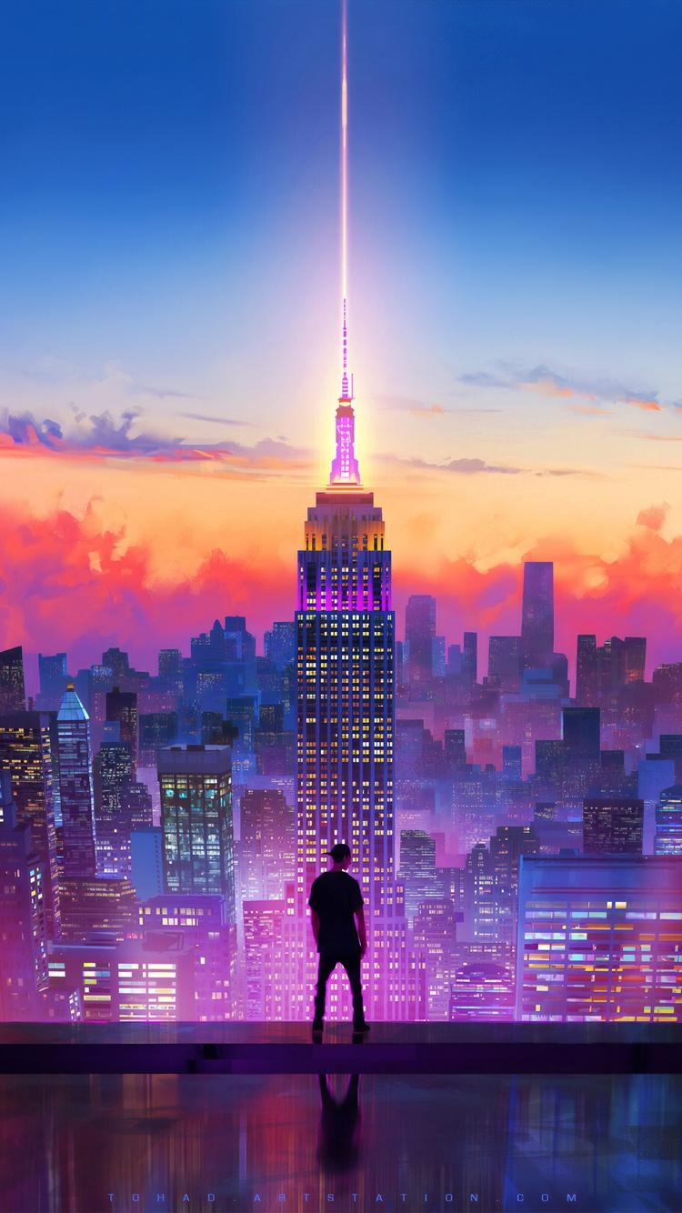 750x1334 Watching The City Digital Art 4k Iphone 6 Iphone