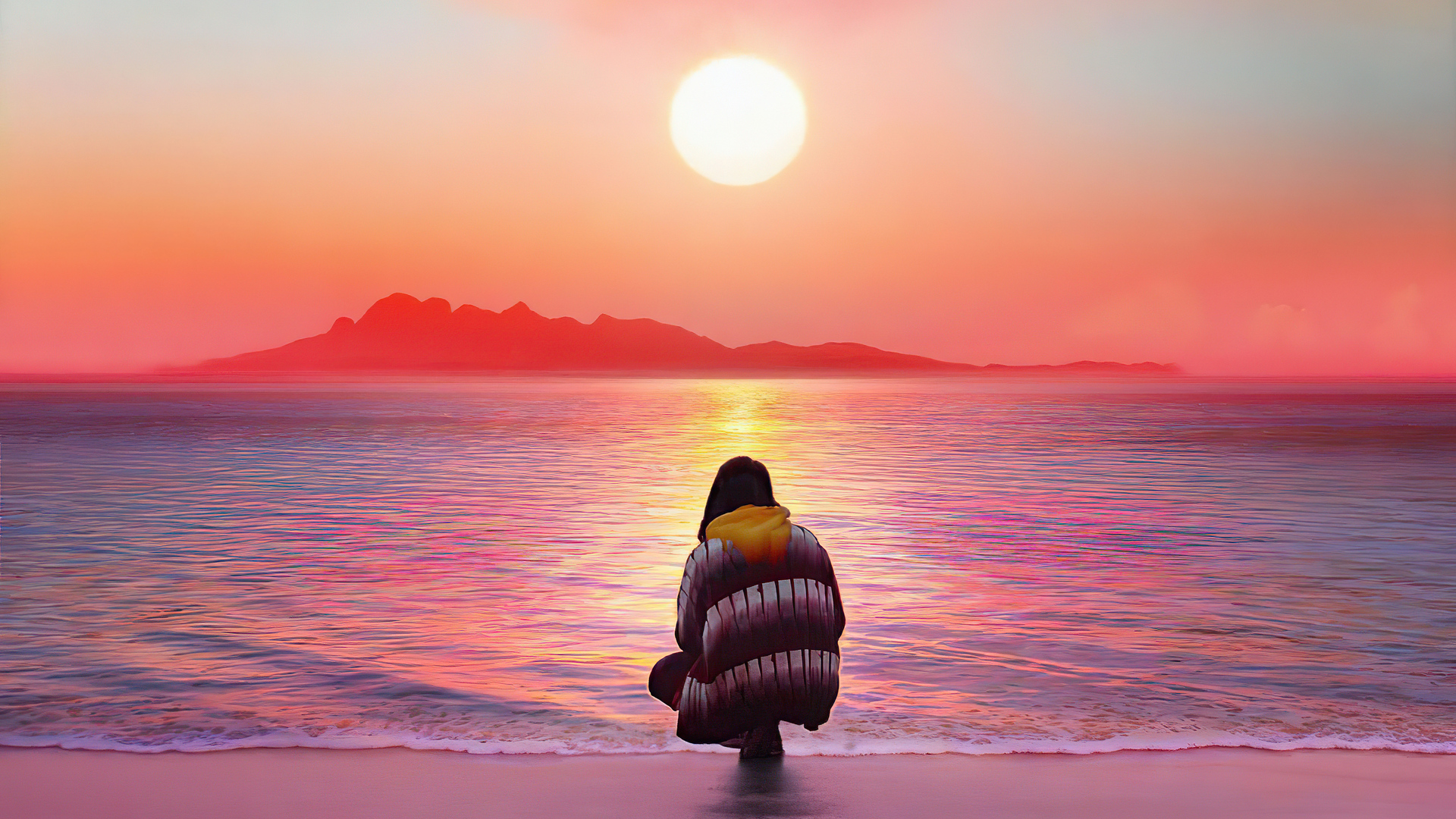 1920x1080 Watching The Sunset On Beach 4k Laptop Full Hd 1080p Hd 4k Wallpapers Images Backgrounds Photos And Pictures