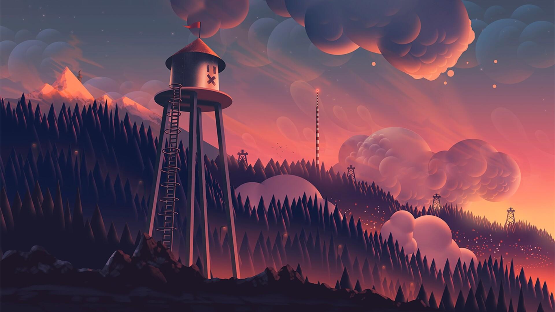 1920x1080 Watchtower Clouds Forest Mountain Landscape Digital Art