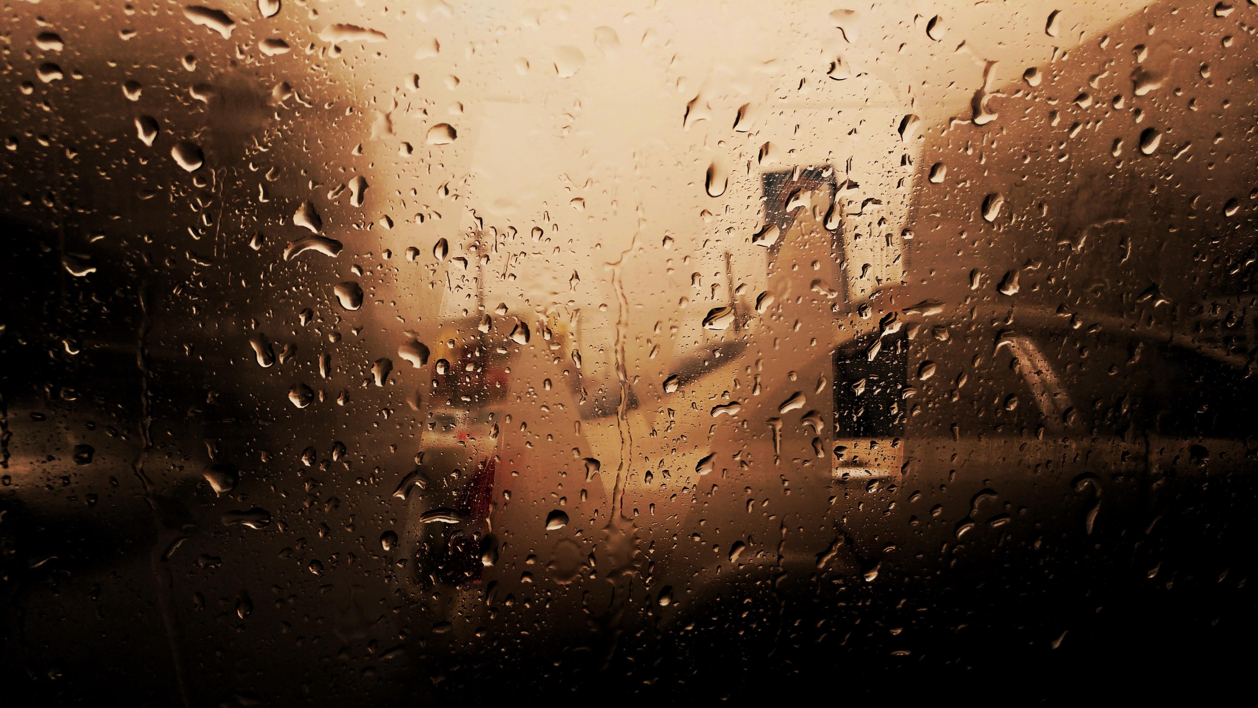 5120x2880 Water Droplets On Car Windshield Rainy Season 4k