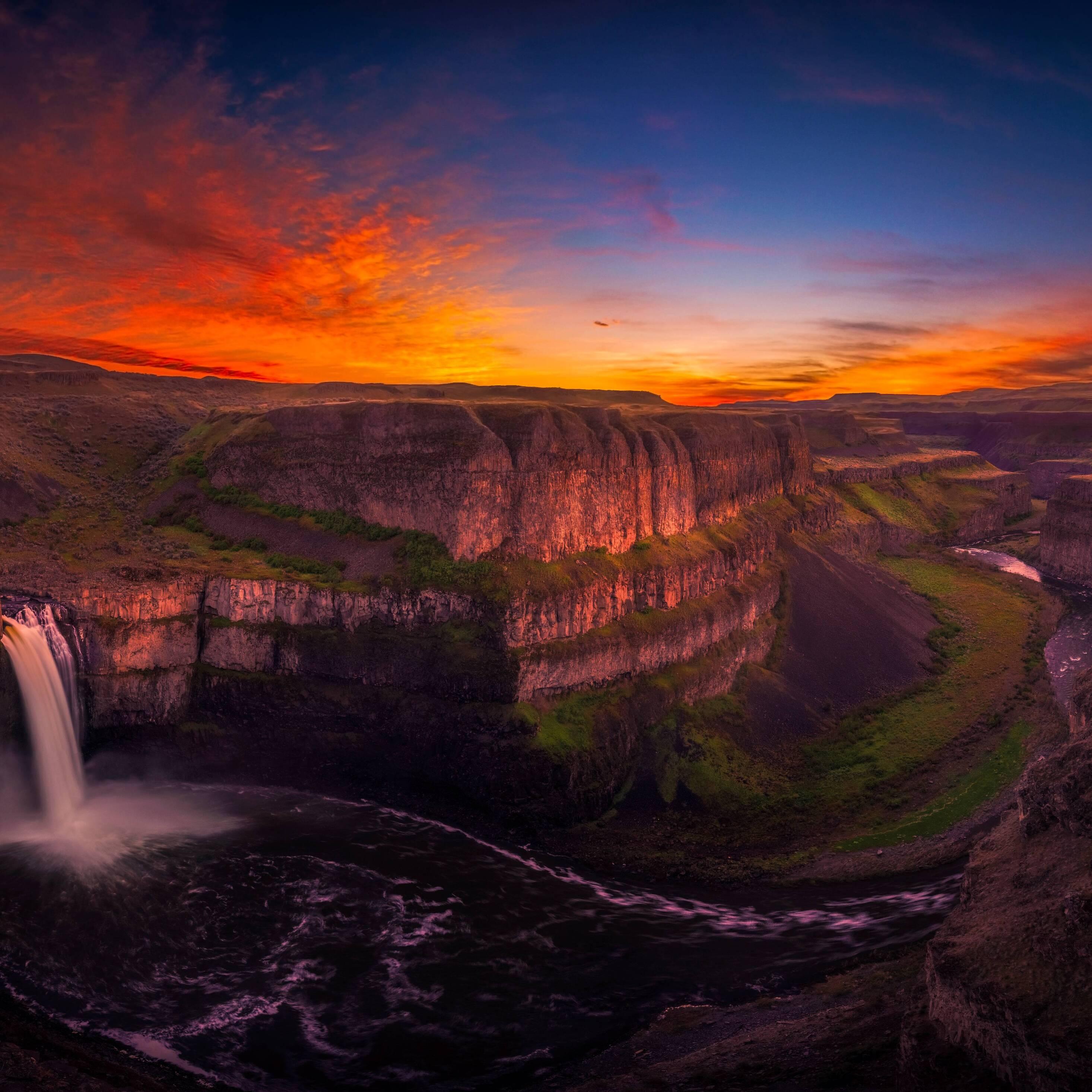 Waterfall Sunset Wallpaper