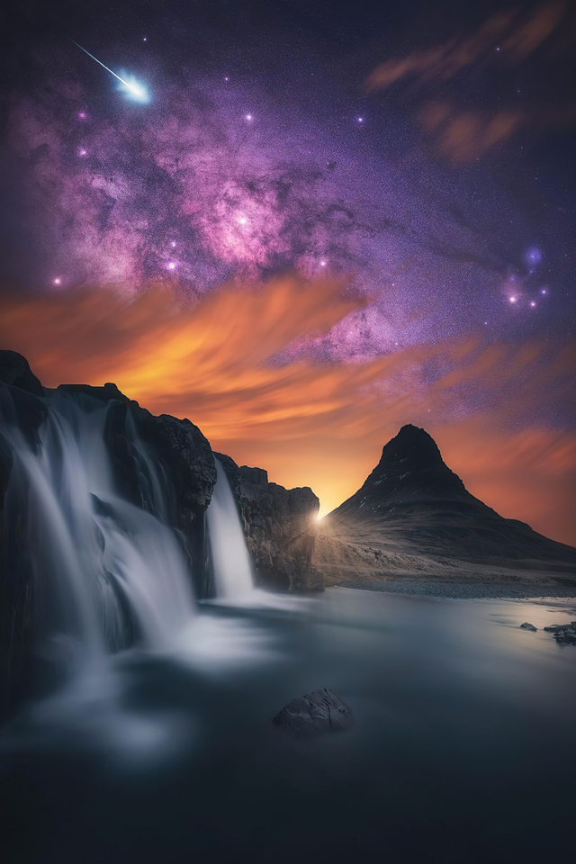waterfall-glowing-sky-stars-mountains-5k-7k.jpg