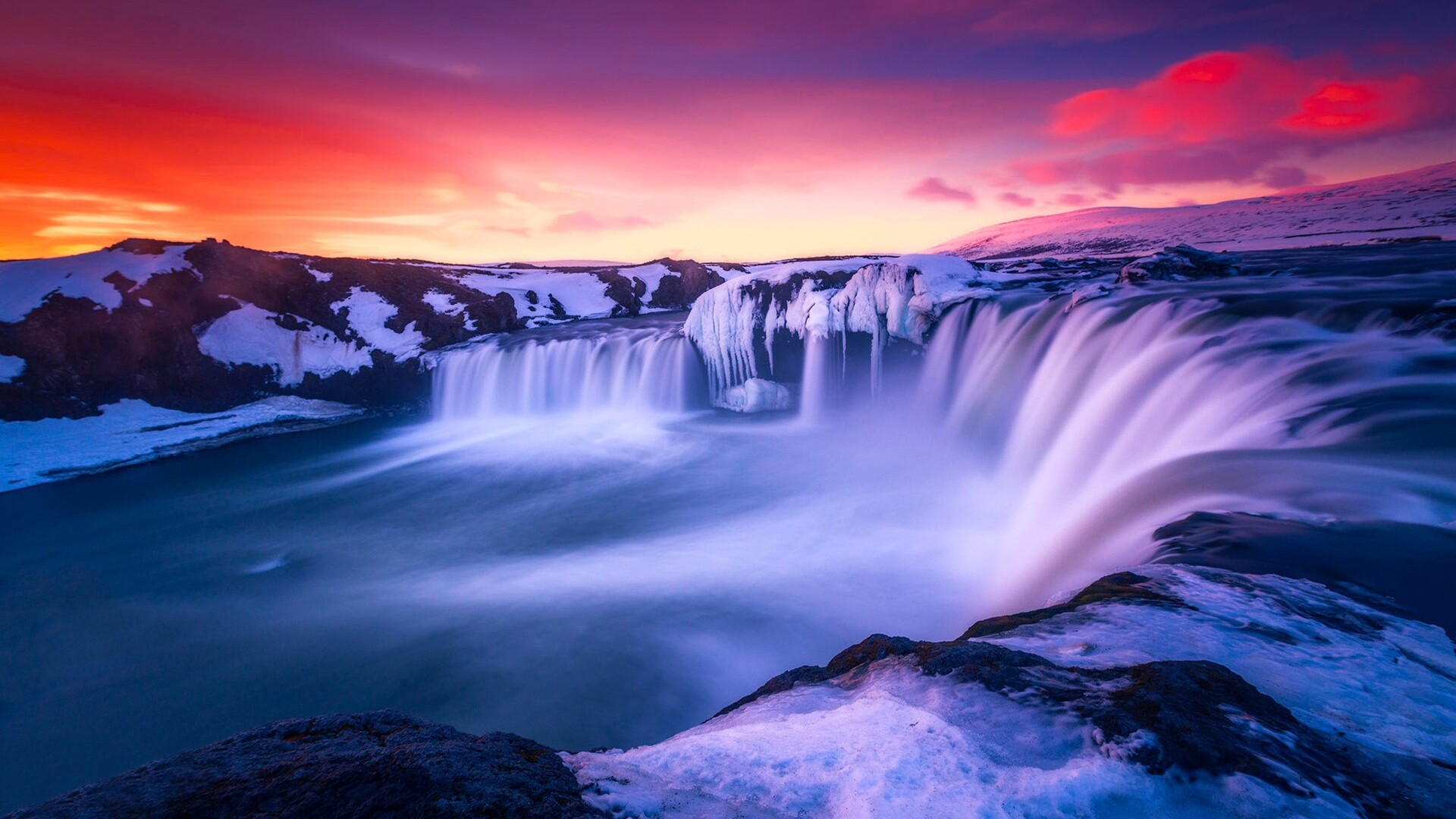 Waterfall Iceland Wide Jpg