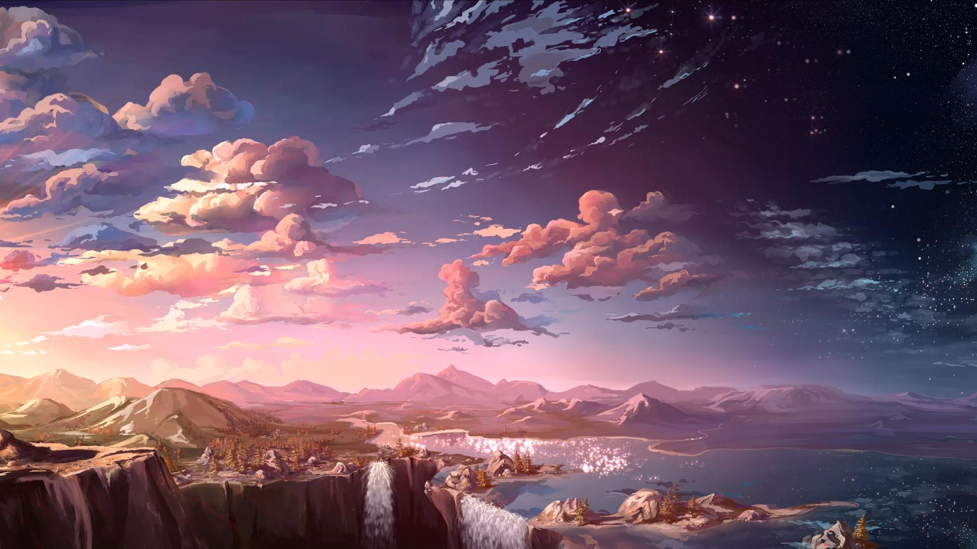 1920x1080 waterfall sunset landscape artist laptop full hd 1080p hd