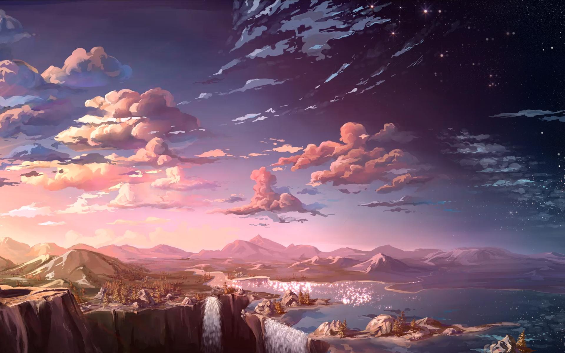 1920x1200 waterfall sunset landscape artist 1080p resolution hd 4k rh hdqwalls com