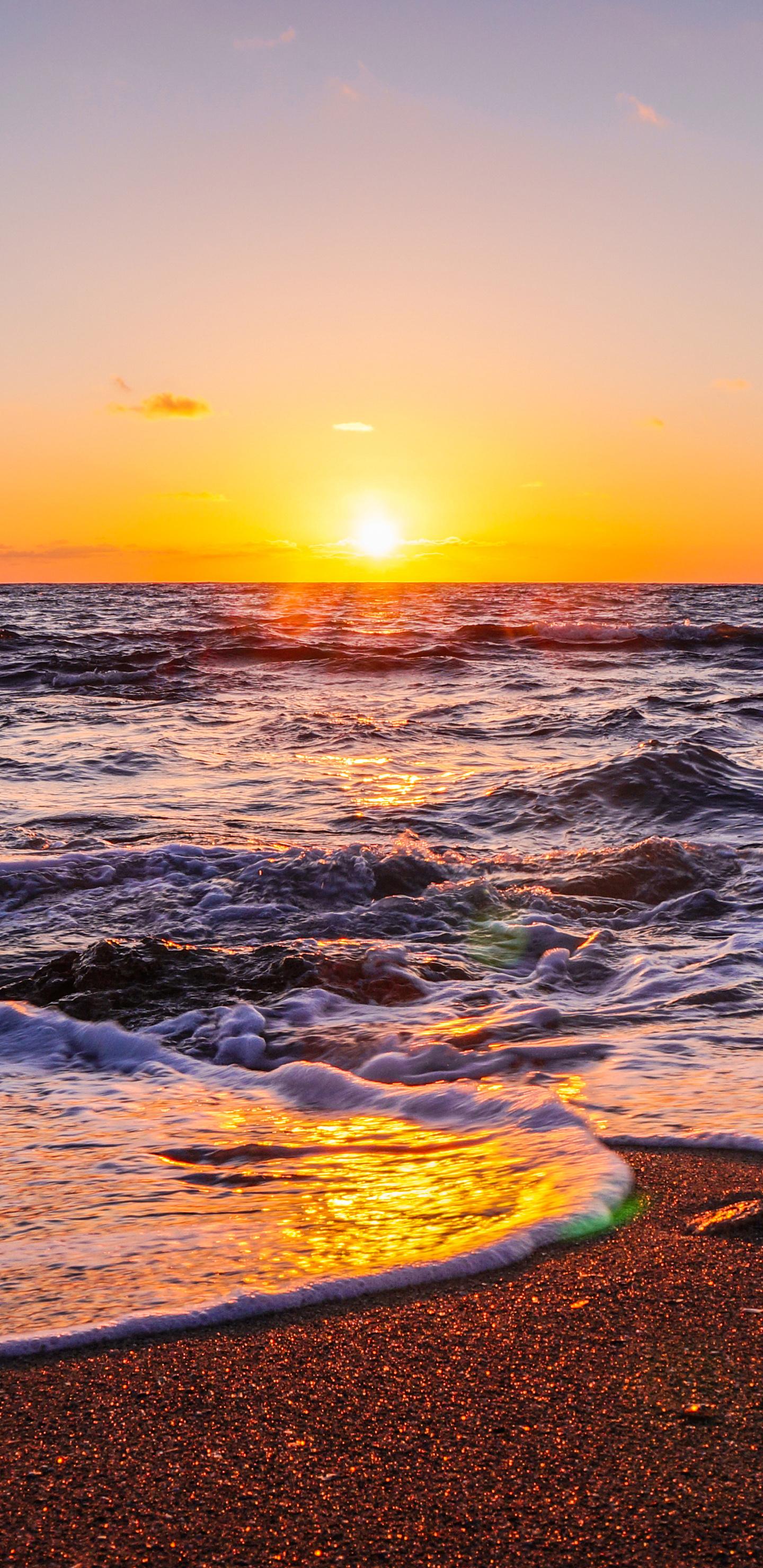 1440x2960 Waves Beach Sunset 5k Samsung Galaxy Note 9,8 ...
