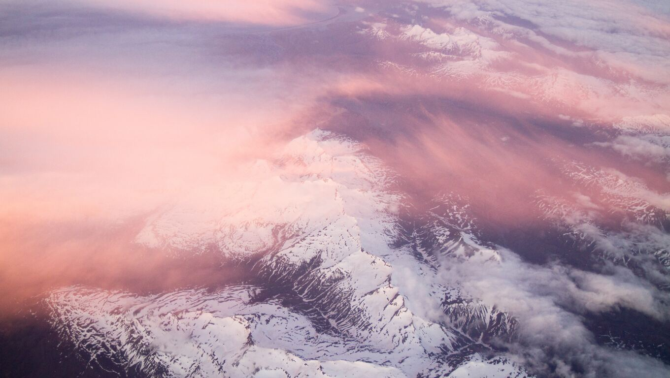 1360x768 White Mountains Pink Clouds 5k Laptop Hd Hd 4k