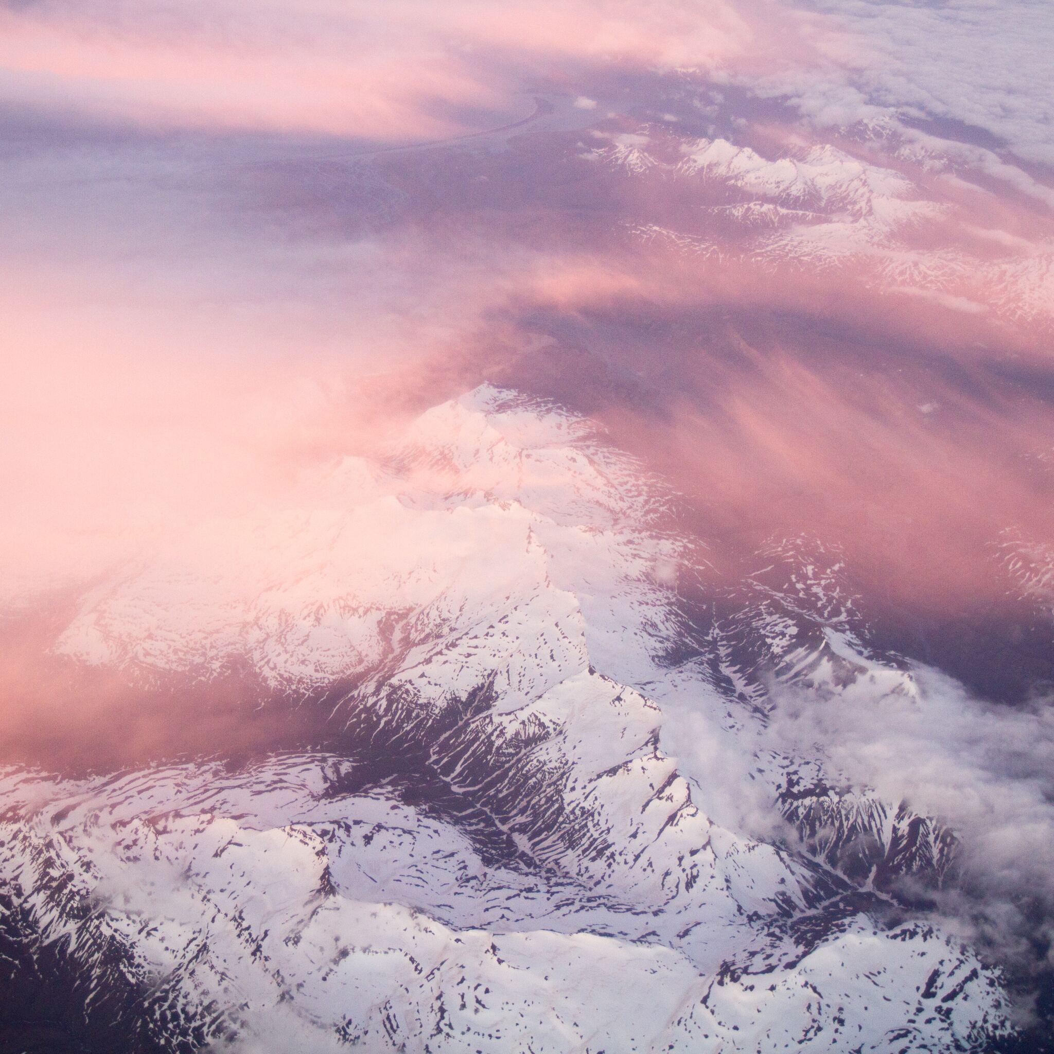 2048x2048 White Mountains Pink Clouds 5k Ipad Air Hd 4k
