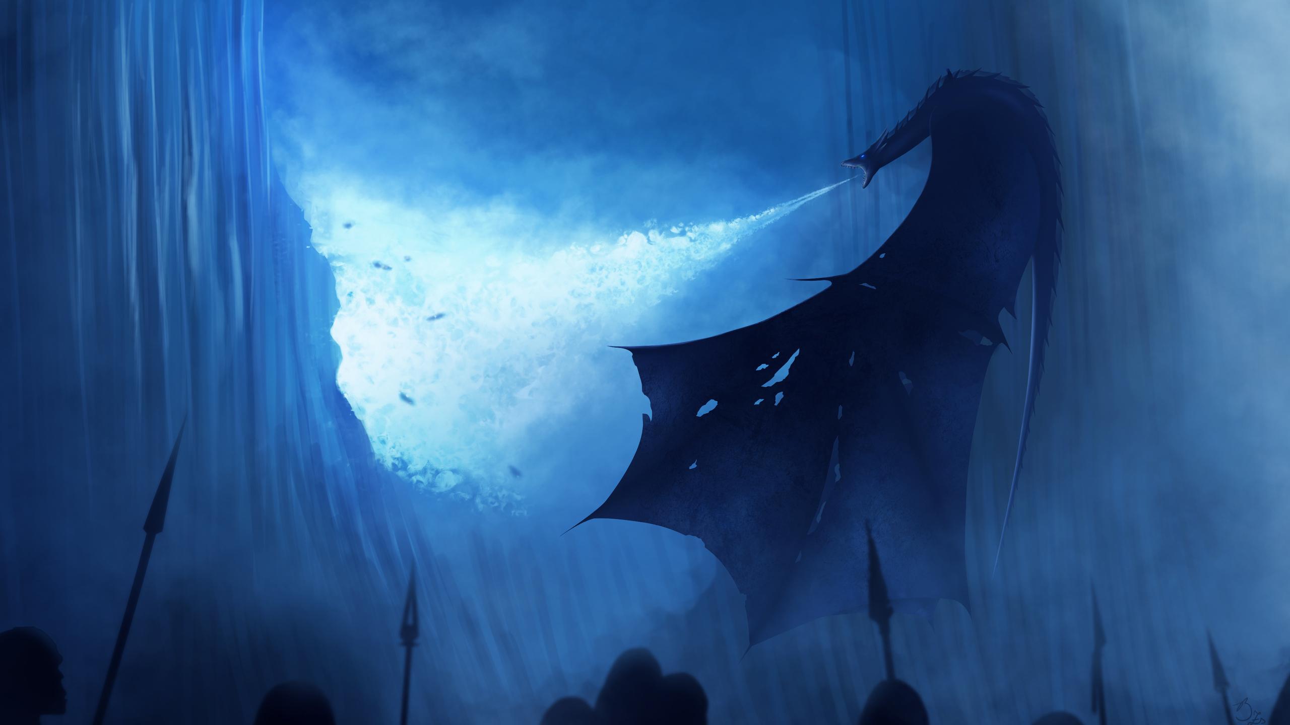 2560x1440 White Walker Dragon Breaking The Wall 1440P ...