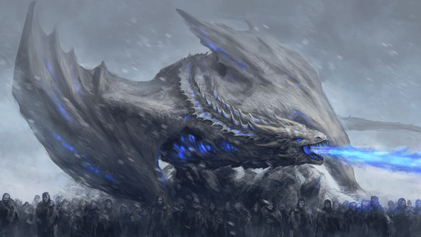 1366x768 White Walkers Dragon Game Of Thrones 1366x768 Resolution Hd