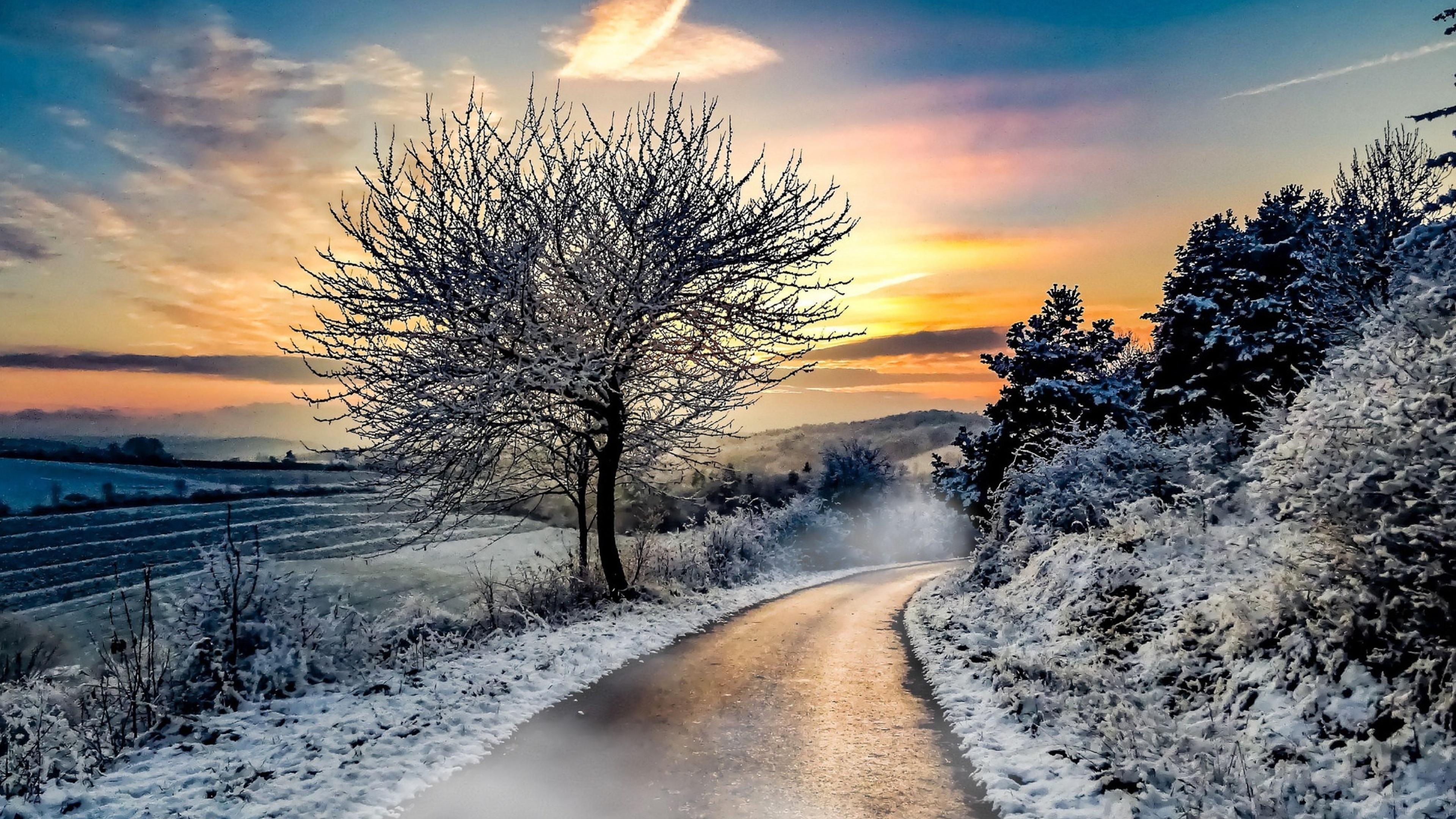 дорога закат зима без смс