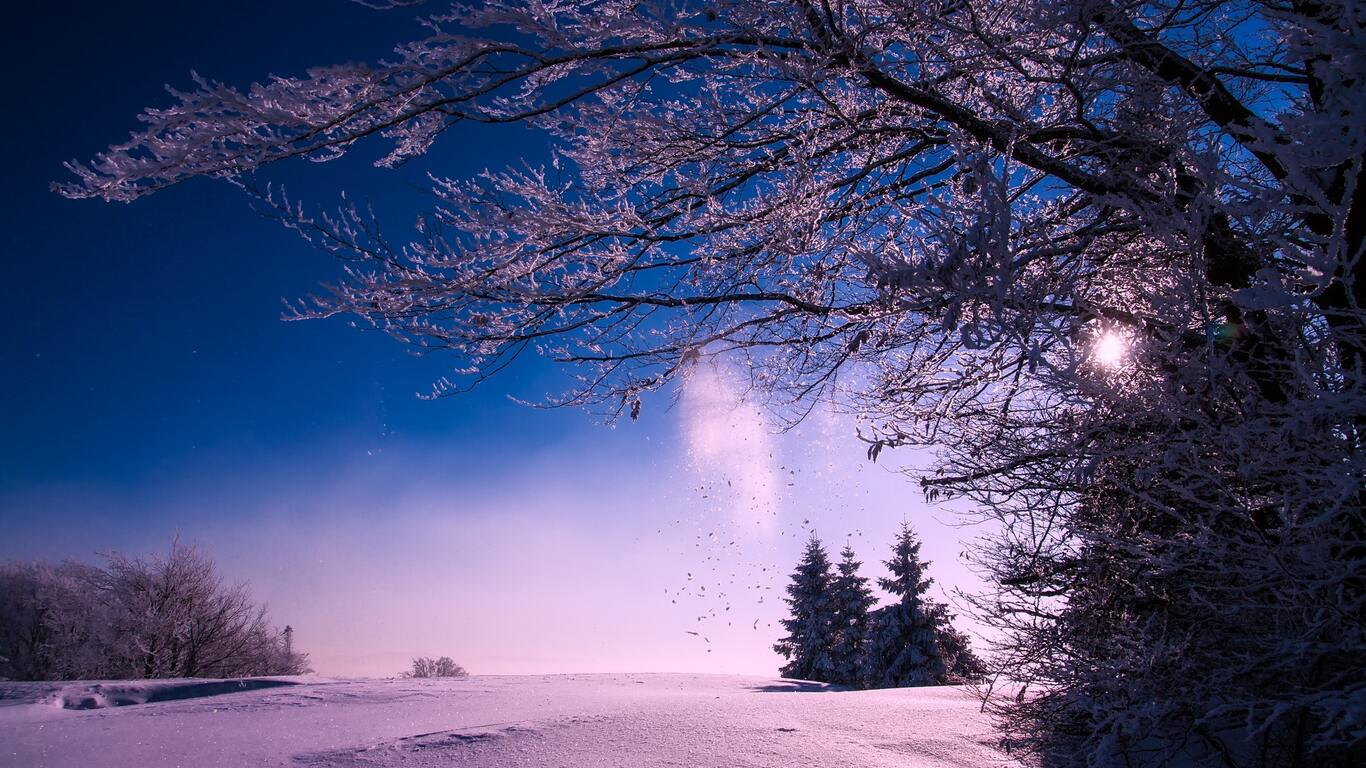 1366x768 winter snow sunset dusk sky clouds landscape 1366x768