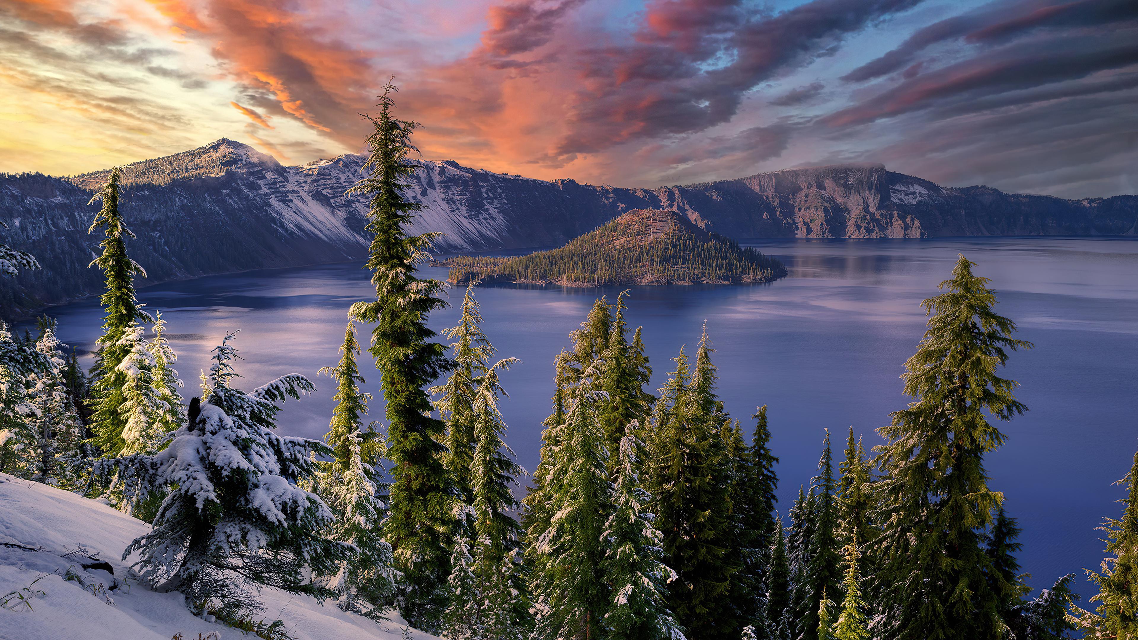 3840x2160 Winter Snow Trees Mountains Landscape Hdr 4k 4k ...