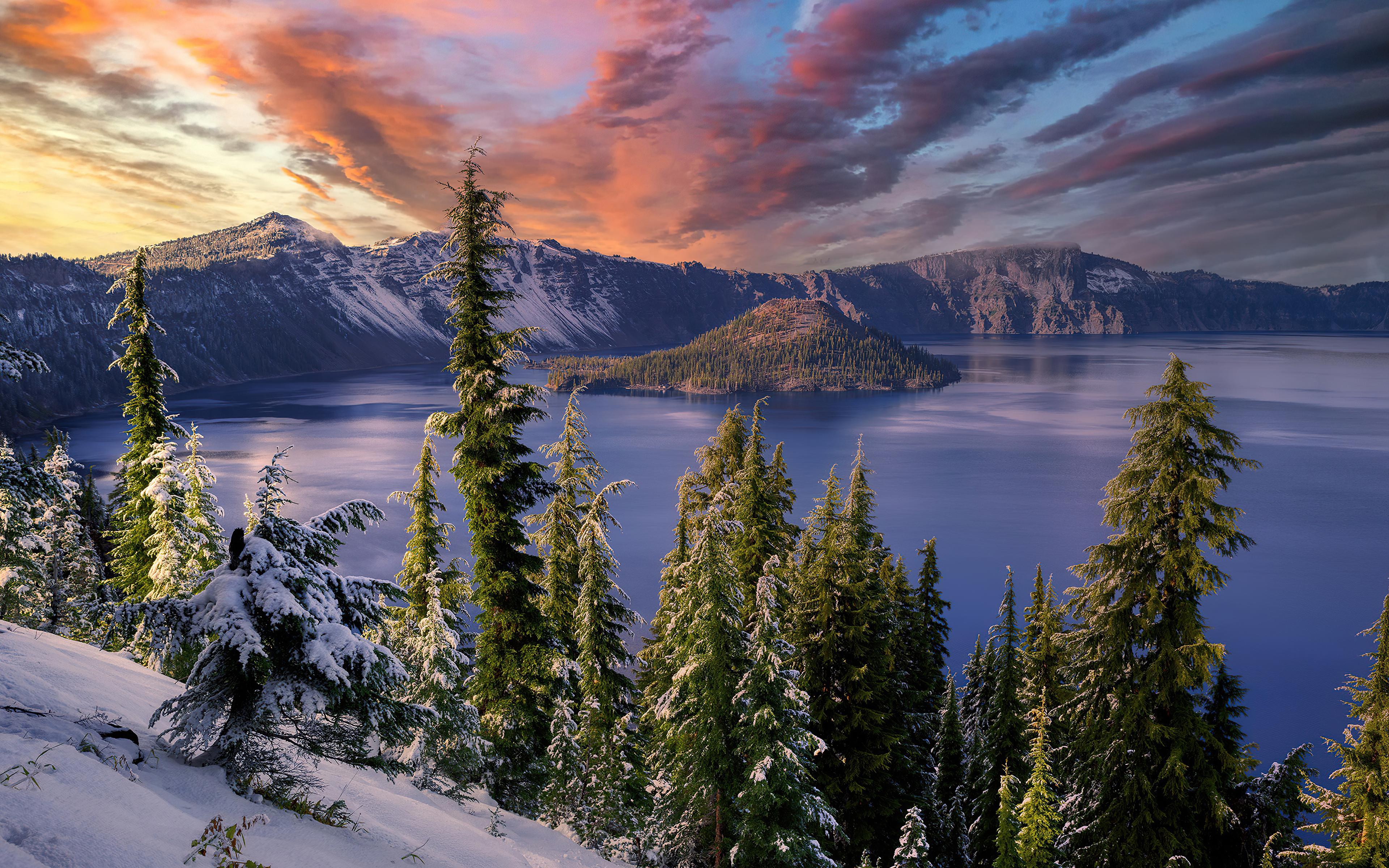 3840x2400 Winter Snow Trees Mountains Landscape Hdr 4k 4k ...