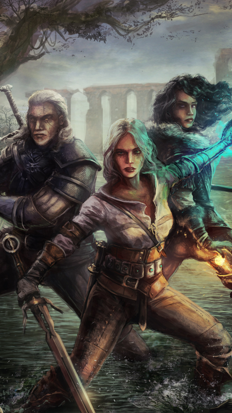 750x1334 Witcher 3 Wild Hunt Geralt Yen And Ciri Iphone 6