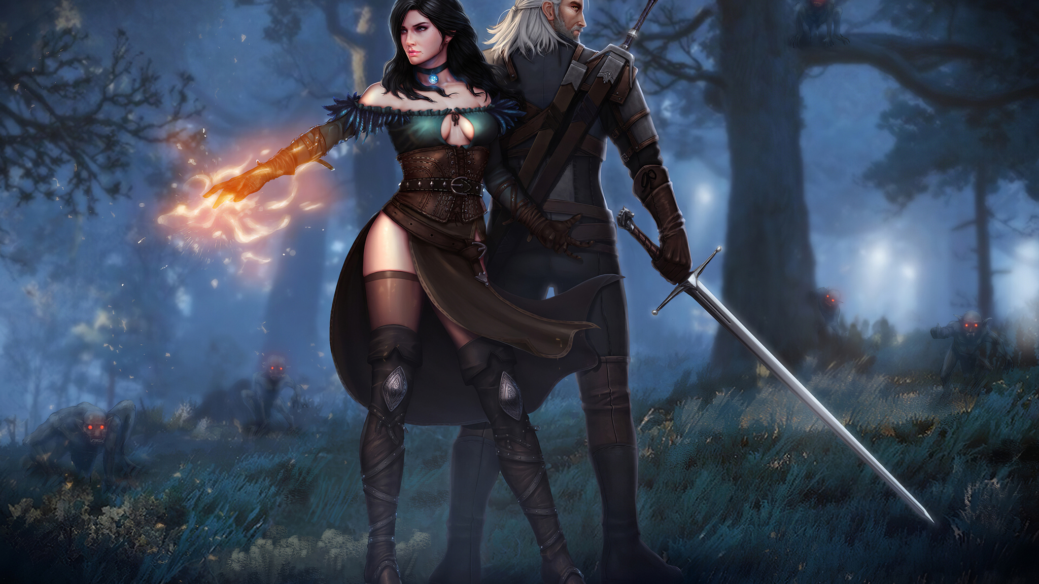 2048x1152 Witcher 3 Wild Hunt Geralt Yen And Ciri 4k 2048x1152