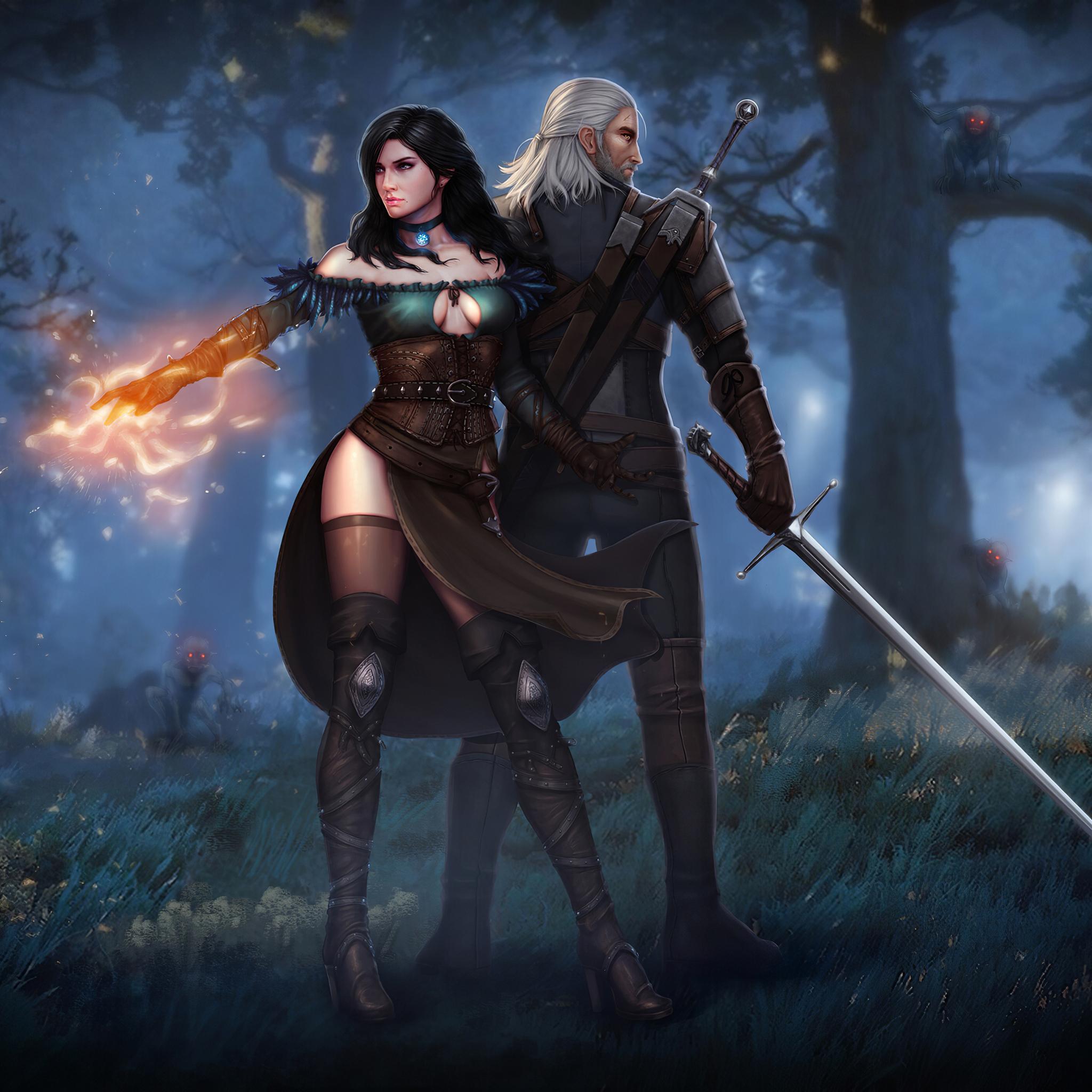 2048x2048 Witcher 3 Wild Hunt Geralt Yen And Ciri 4k Ipad Air Hd
