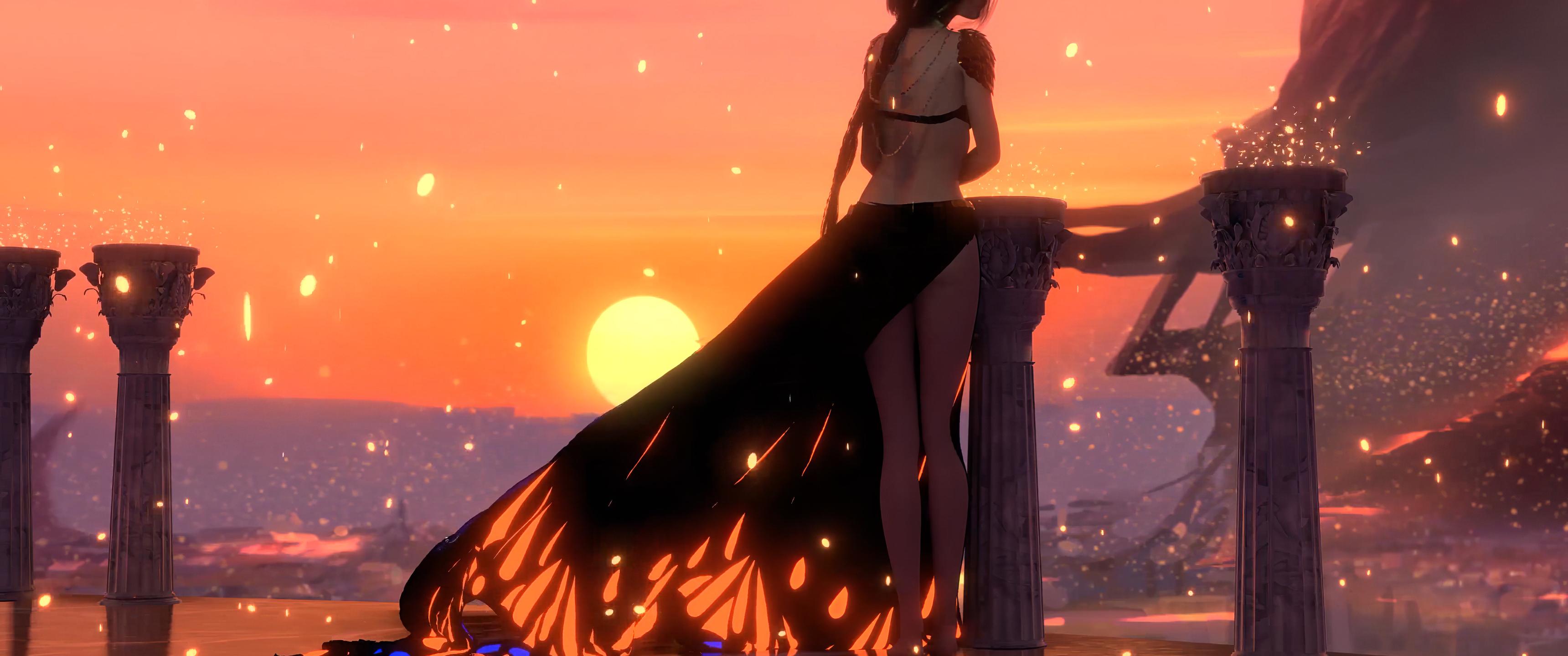 3440x1440 Wlop Anime Girl Sunset 4k 3440x1440 Resolution Hd 4k