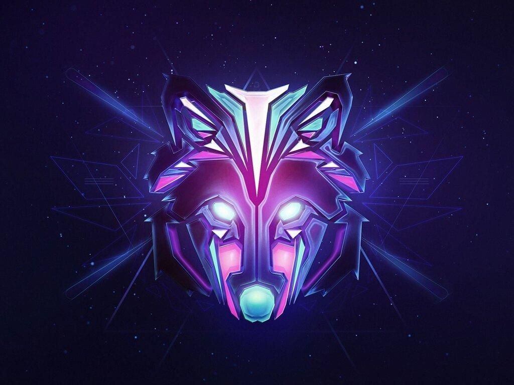 1024x768 Wolf Colorful Minimalism 1024x768 Resolution HD ...