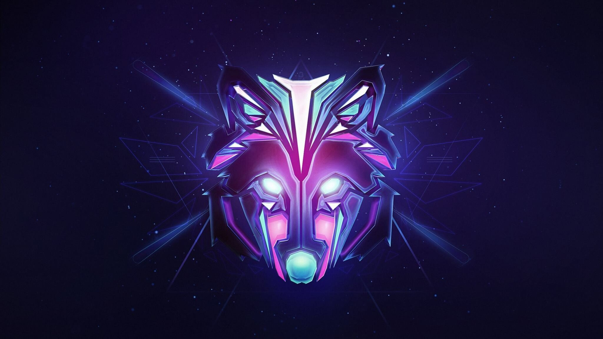 2048x1152 Wolf Colorful Minimalism 2048x1152 Resolution HD