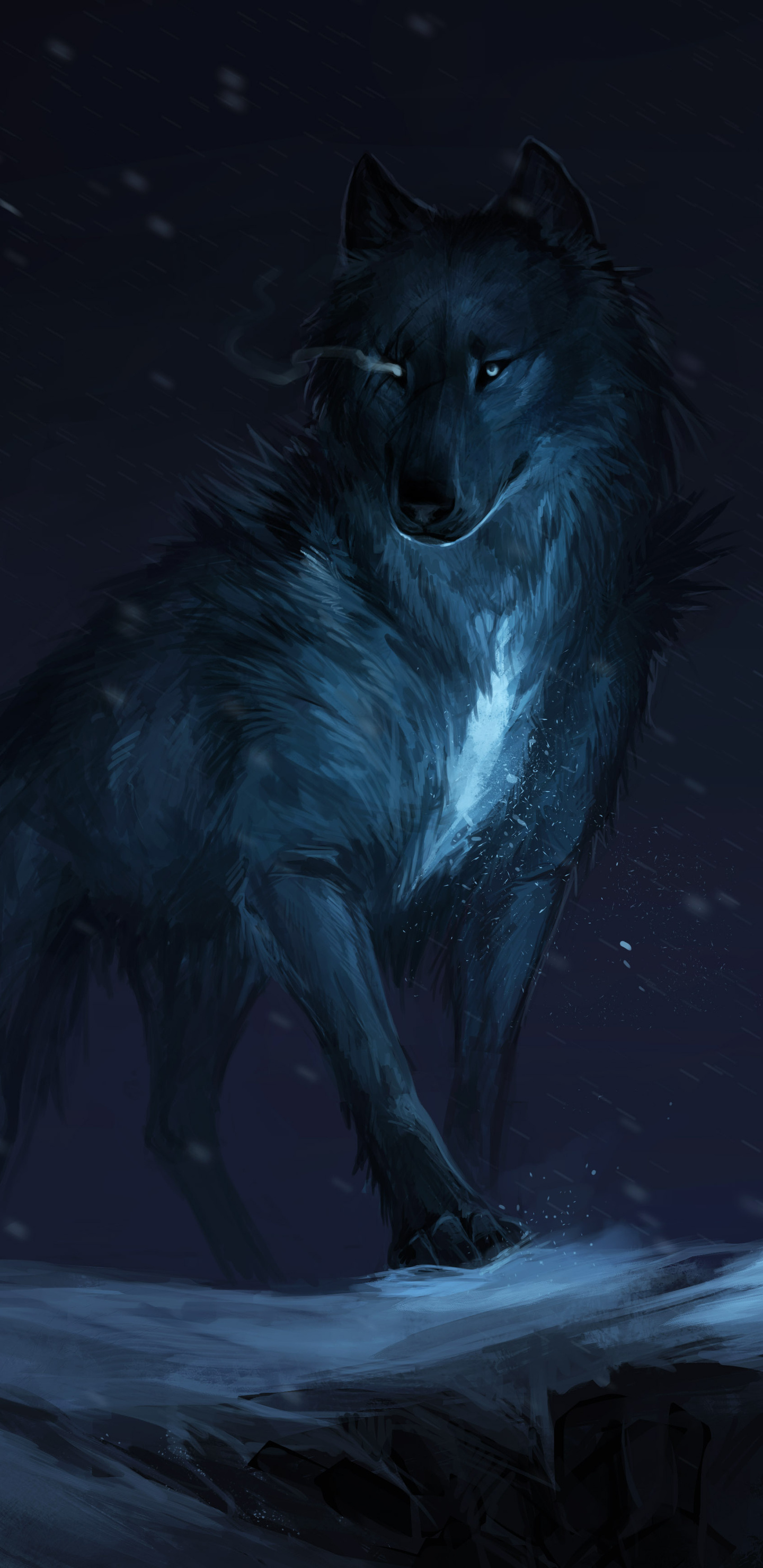 1440x2960 wolf drawing samsung galaxy note 9 8 s9 s8 s8 - Anime wolf wallpaper ...