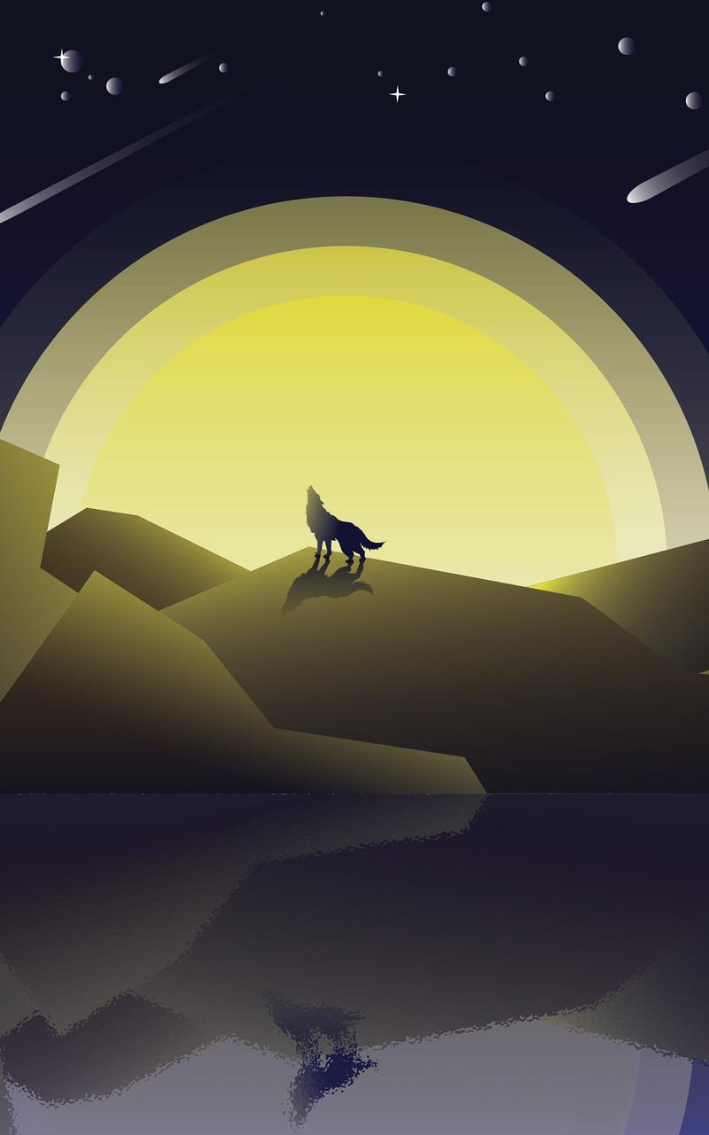wolf howling minimalist gf