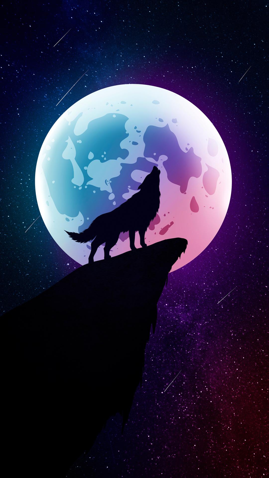 470+21x21 Wolf Howling Moon Night Minimal 21k Iphone 21,21s,21 Plus ...