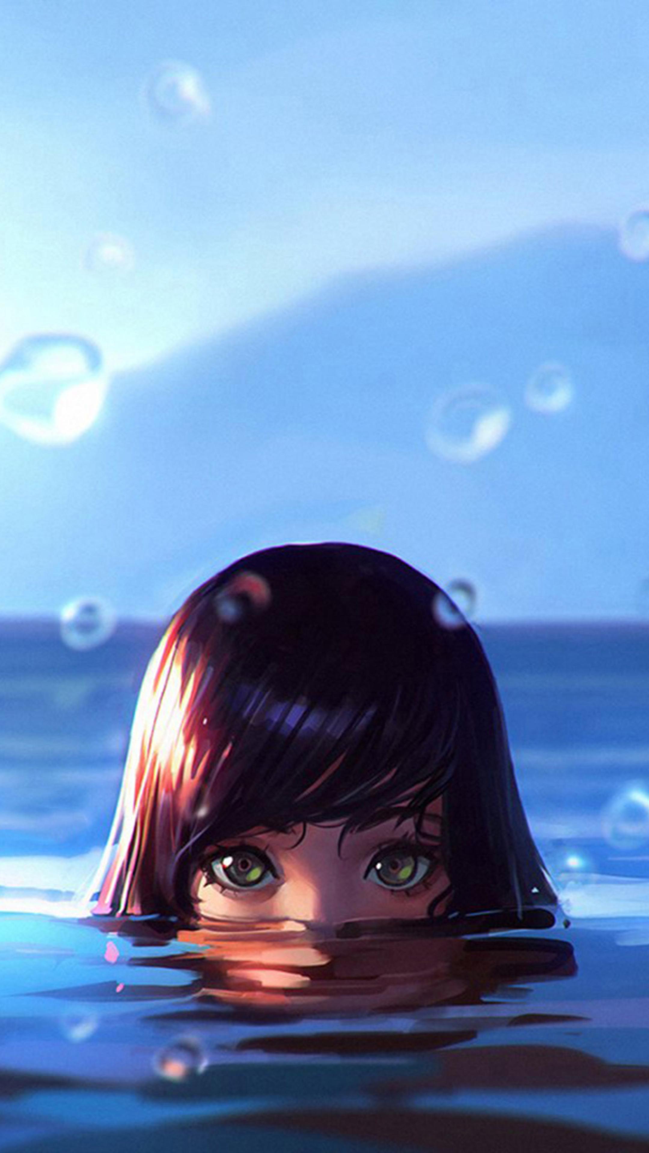 2160x3840 women water drops green eyes wet sony xperia x - Art wallpaper 2160x3840 ...