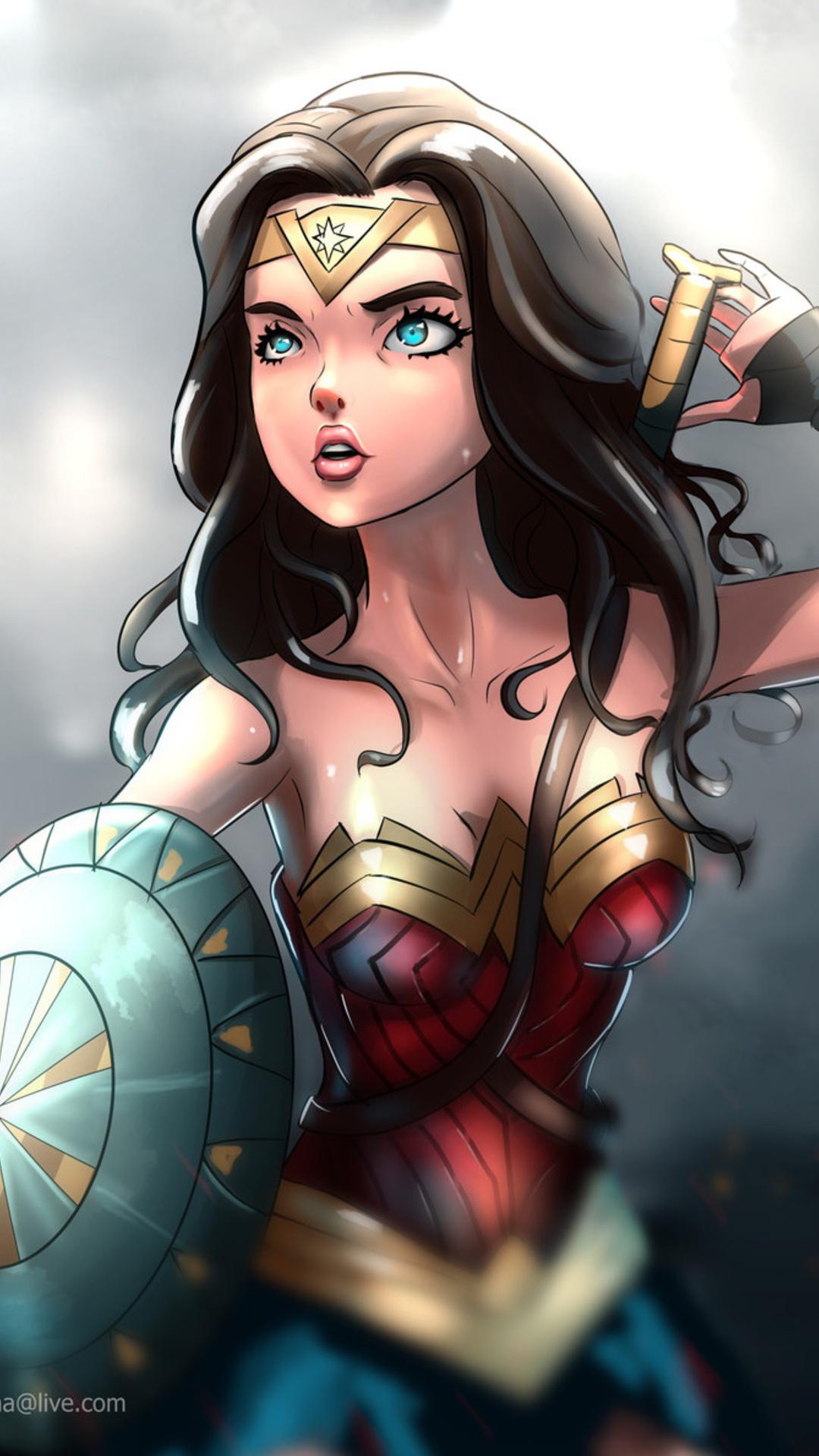 Padded Walls 1080x1920 Wonder Woman Cartoon Artwork Iphone 7 6s 6 Plus