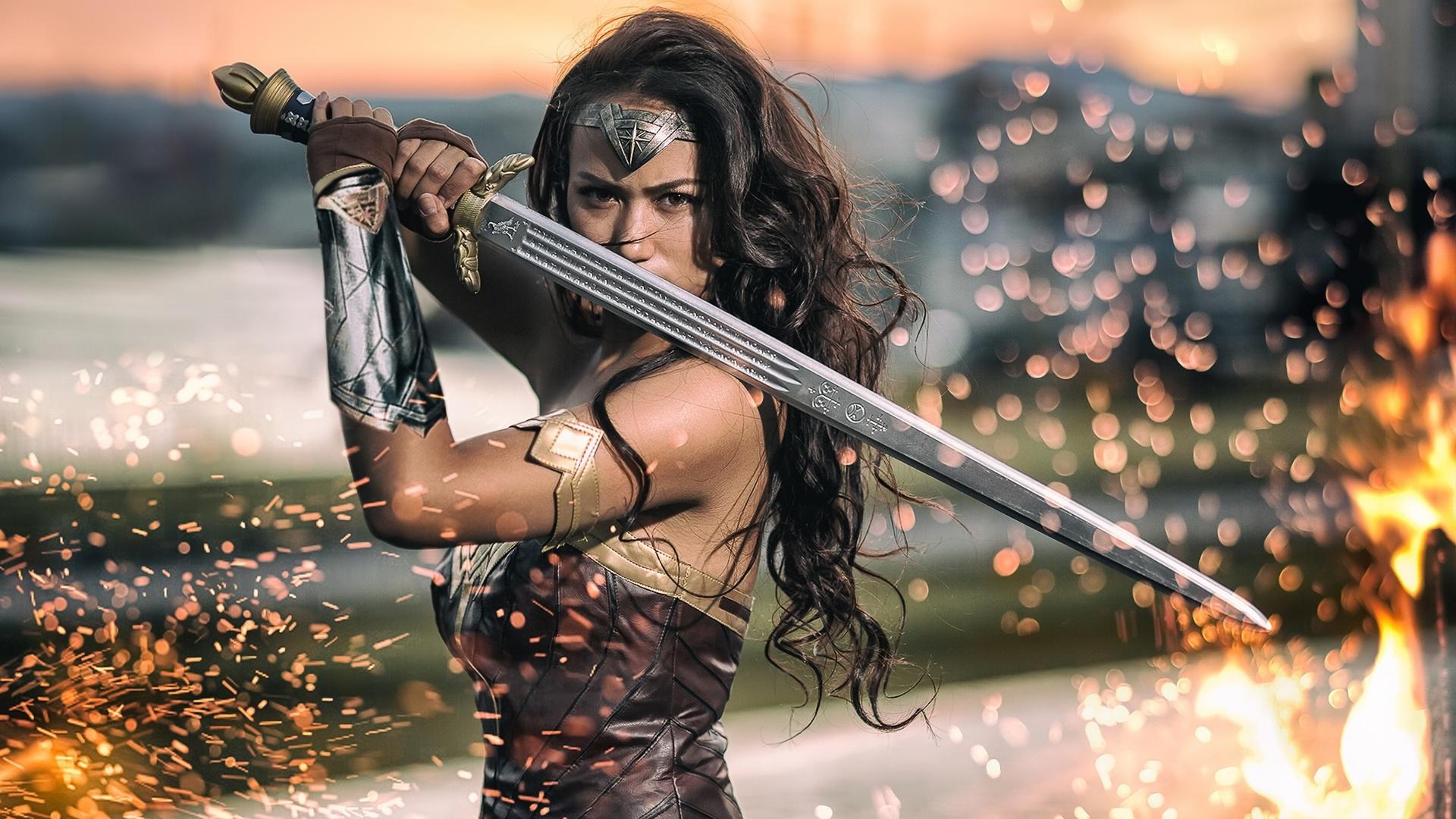 Wonder Woman 2017 Wallpaper Full Hd Free Download: 1920x1080 Wonder Woman Cosplay 2017 Laptop Full HD 1080P