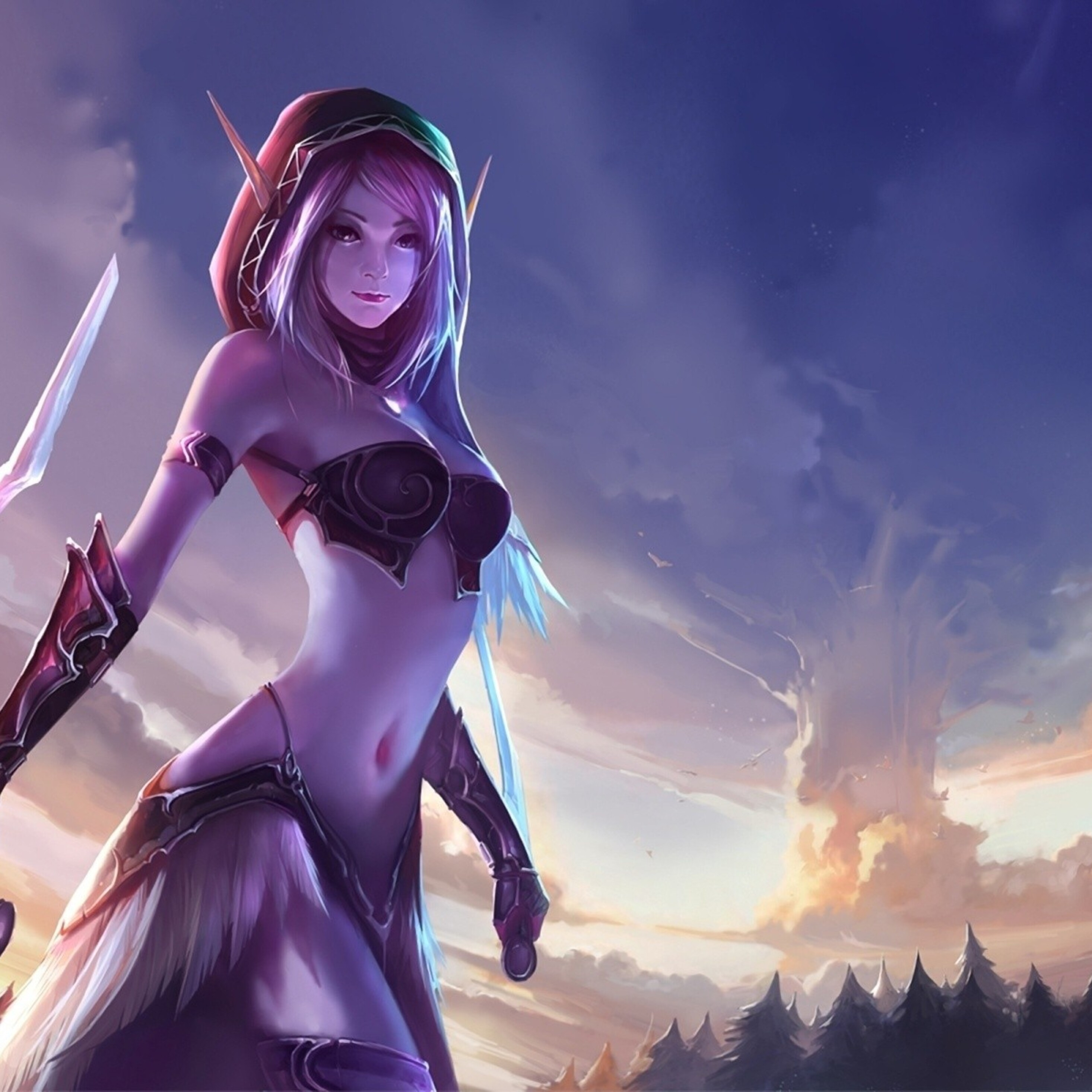 2932x2932 World Of Warcraft Anime Girl Ipad Pro Retina