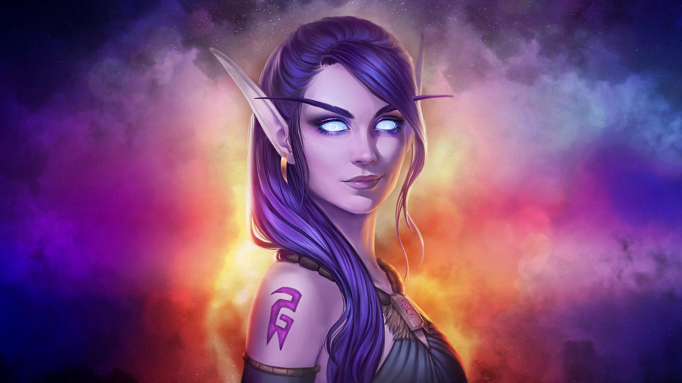 1366x768 World Of Warcraft Fantasy Girl Art 4k 1366x768 Resolution