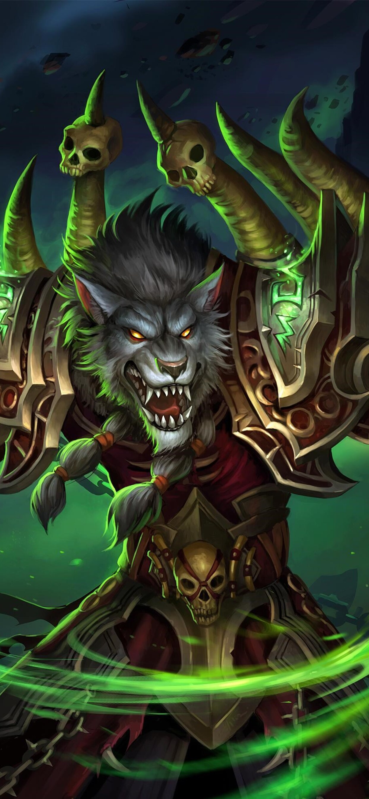 1242x2688 World Of Warcraft Worgen Warlock Iphone Xs Max Hd