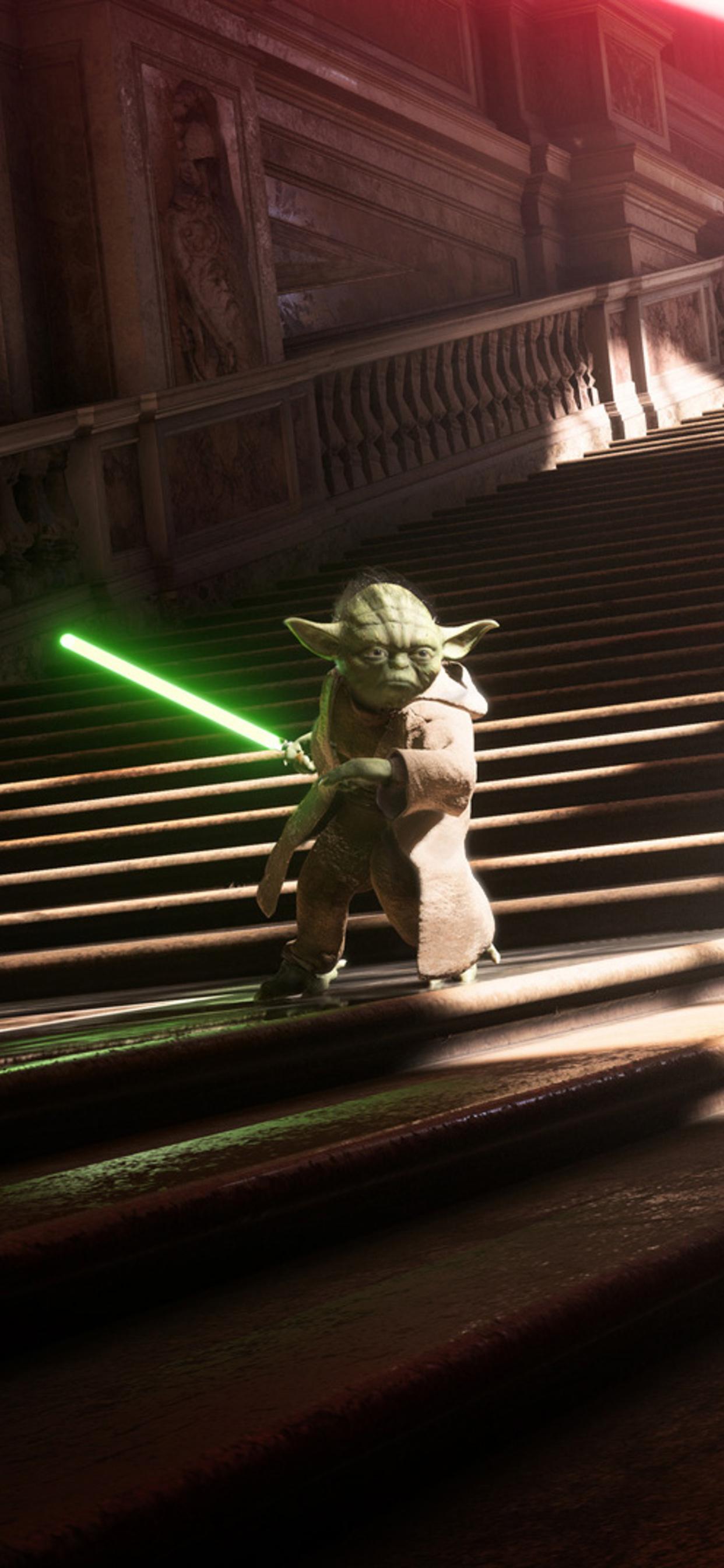 1242x2688 Yoda Vs Darth Vader Star Wars Battlefront 2 Iphone