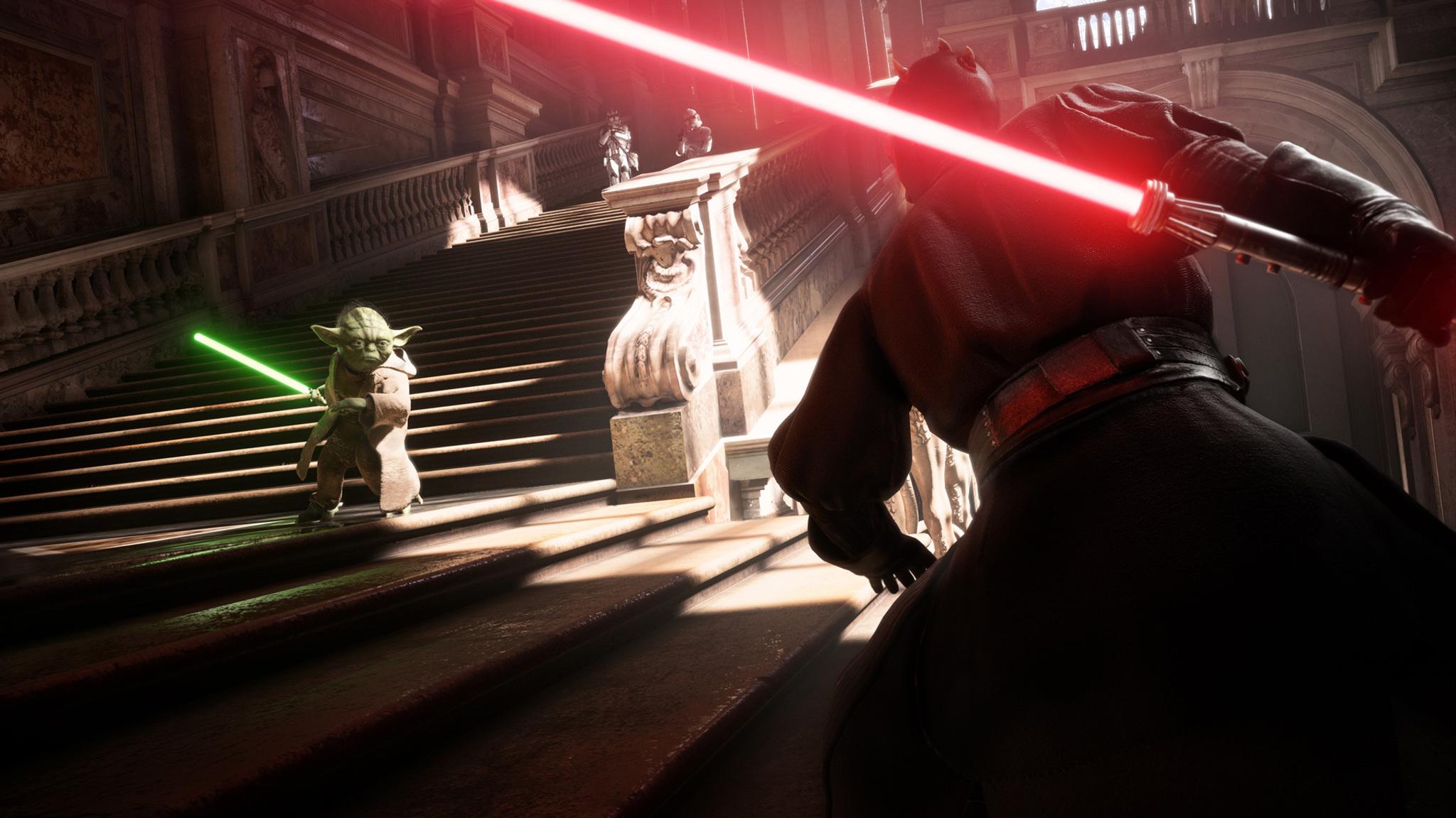 2048x1152 Yoda Vs Darth Vader Star Wars Battlefront 2 2048x1152