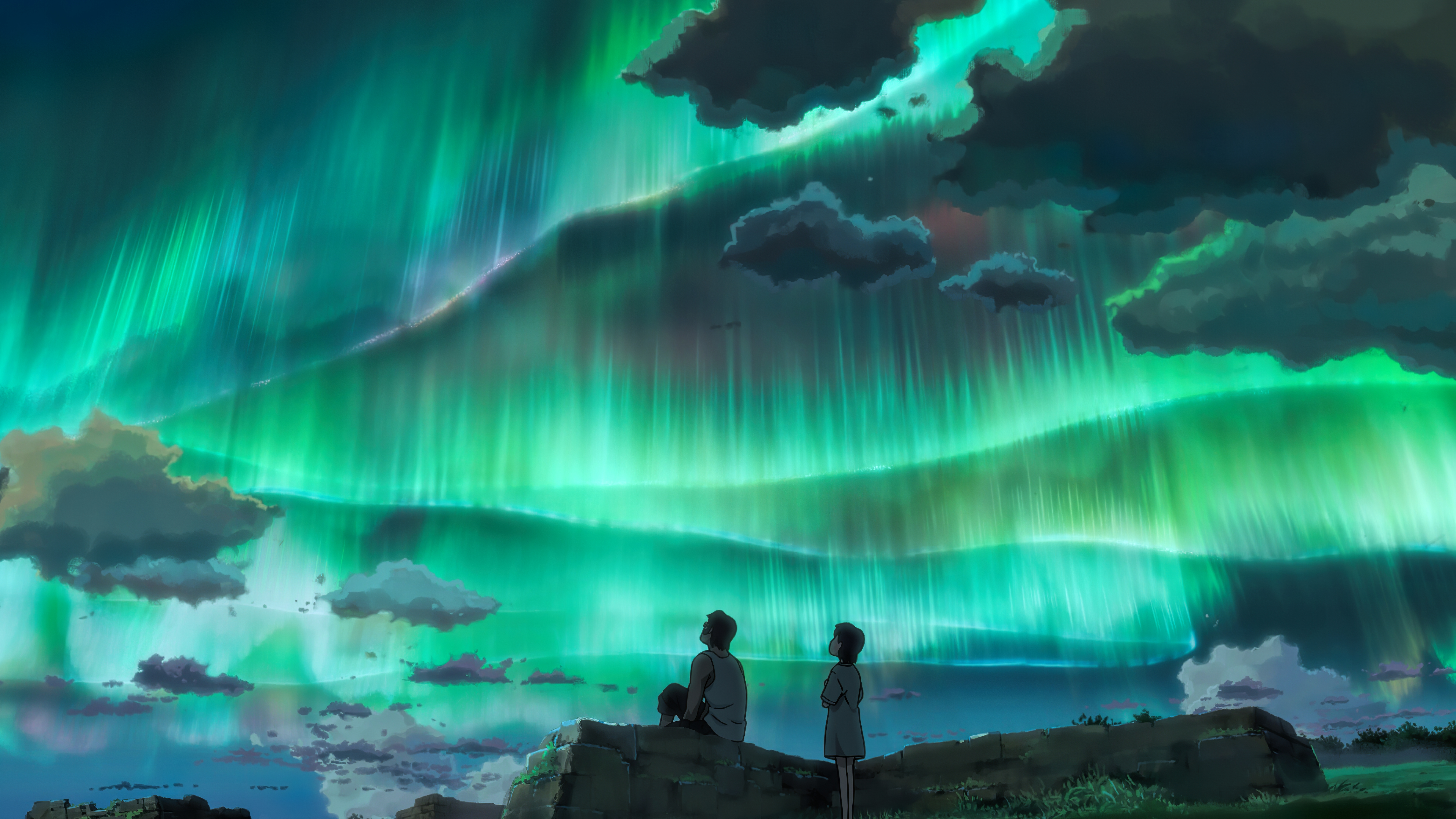 Anime Couple Looking At Aurora Sky 8k Hd Anime 4k Wallpapers