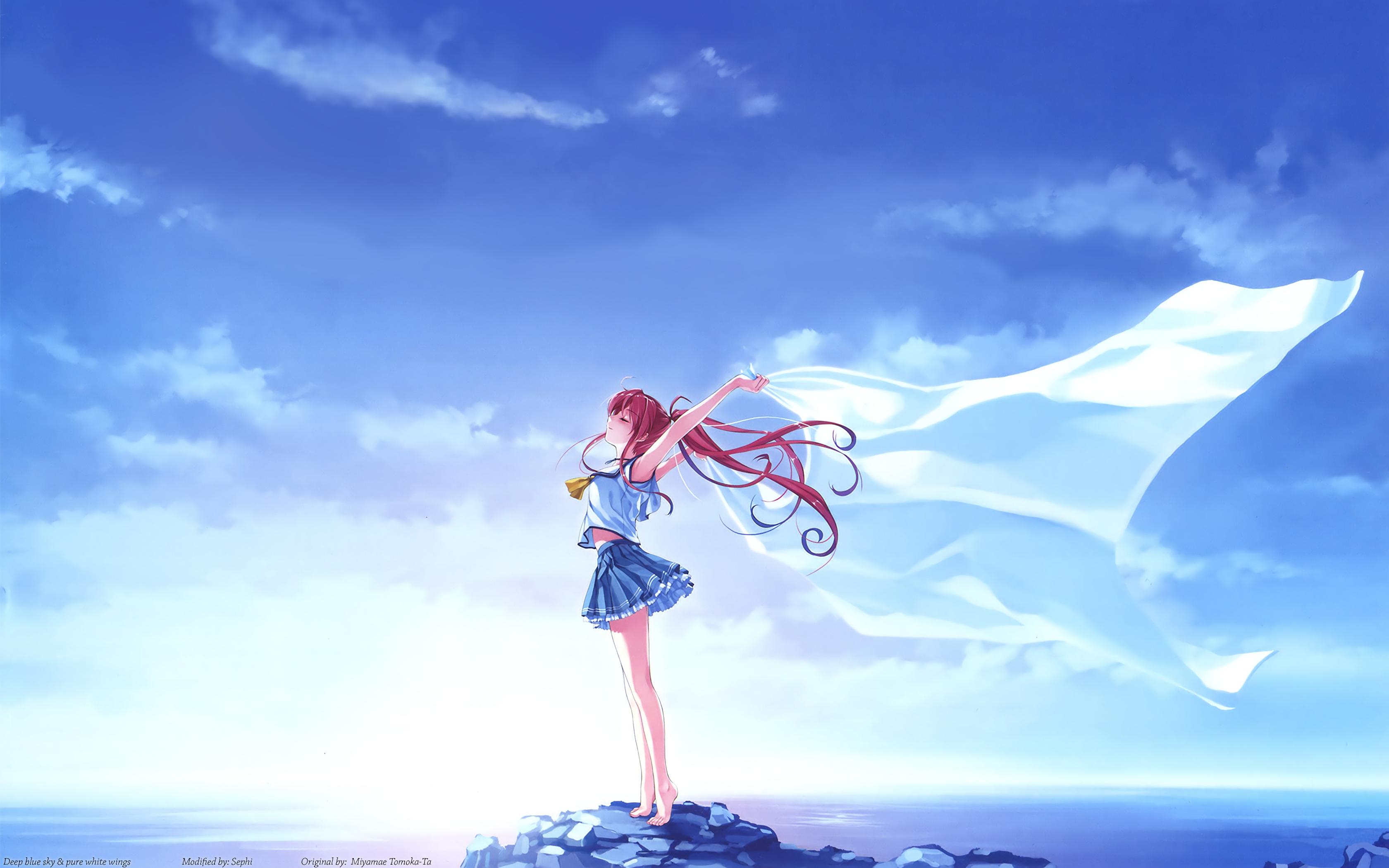 Anime Deep Blue Sky Pure White Wings 4k, HD Anime, 4k ...