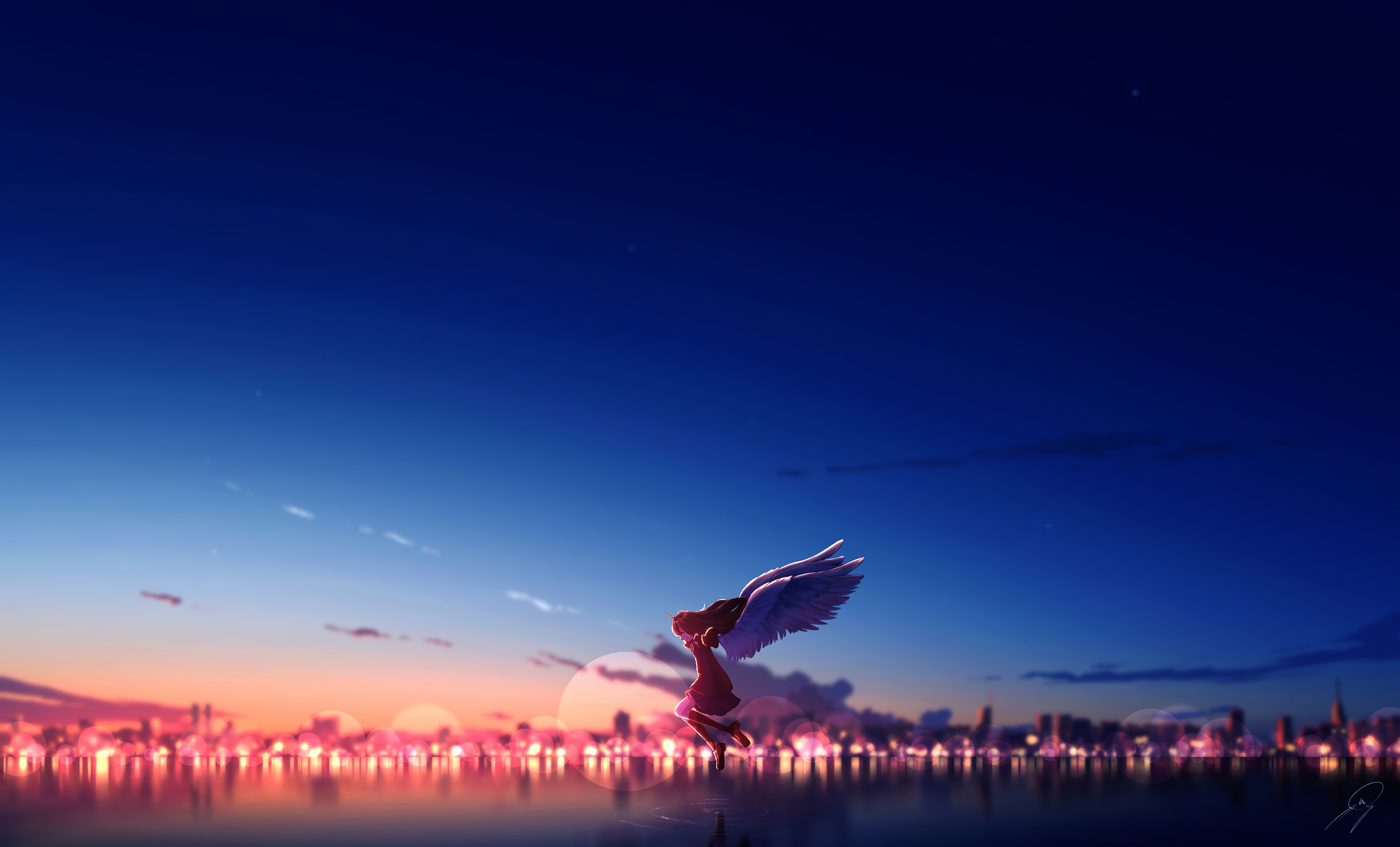 Anime Girl Angel Sky 4k Hd Anime 4k Wallpapers Images Backgrounds Photos And Pictures