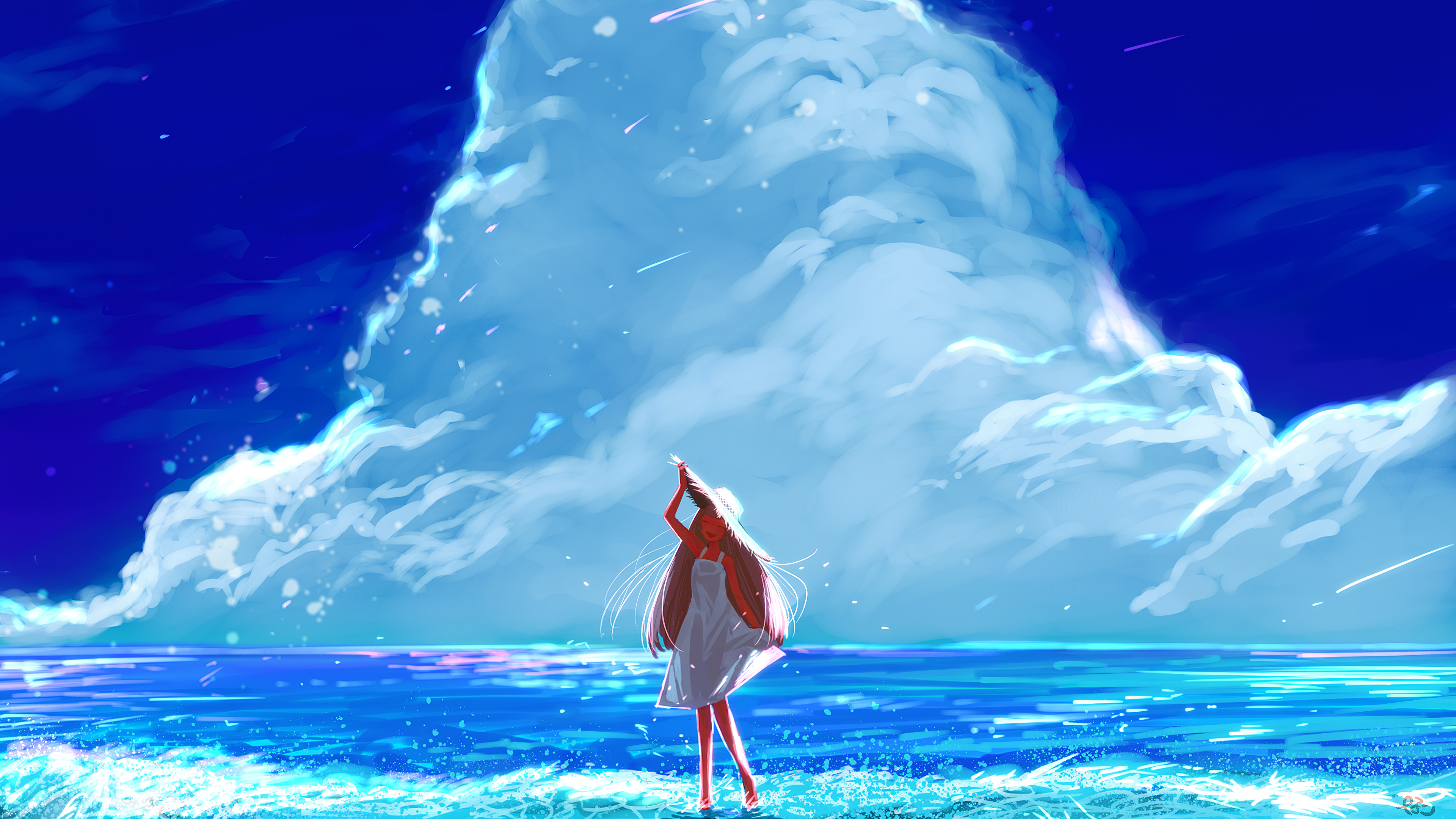 Anime Girl Beach Happy Long Hair Clouds 4k Hd Anime 4k Wallpapers Images Backgrounds Photos And Pictures
